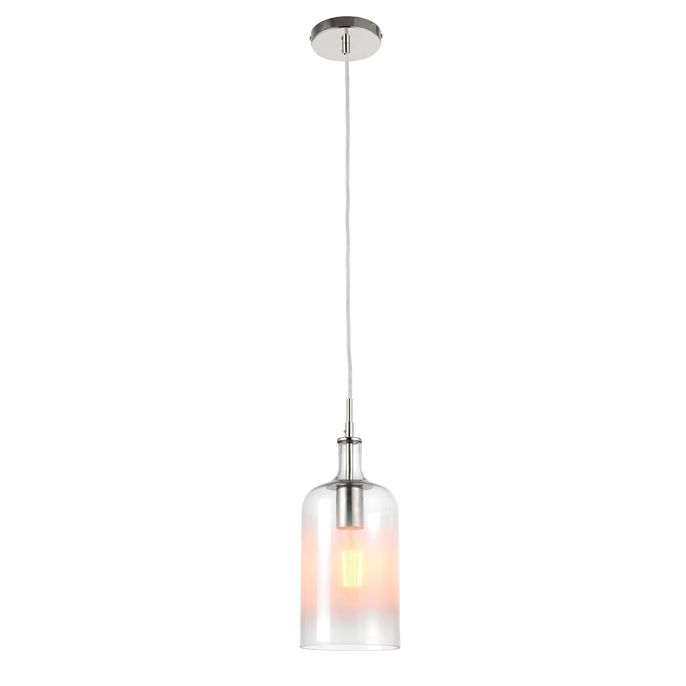 Endon Frankie pendant 1x 40W Clear & white painted glass bright nickel plate Thumbnail 1