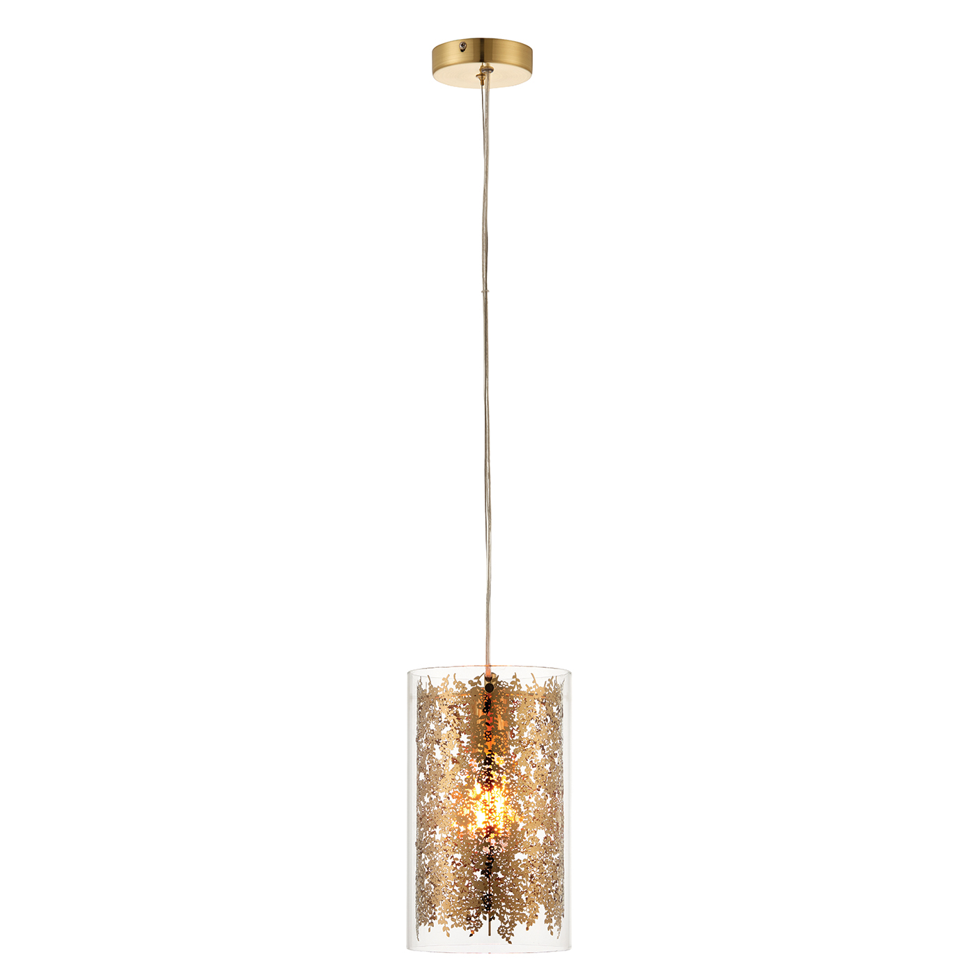 Endon Lacy pendant 1x 40W Clear glass & brass effect plate Thumbnail 1