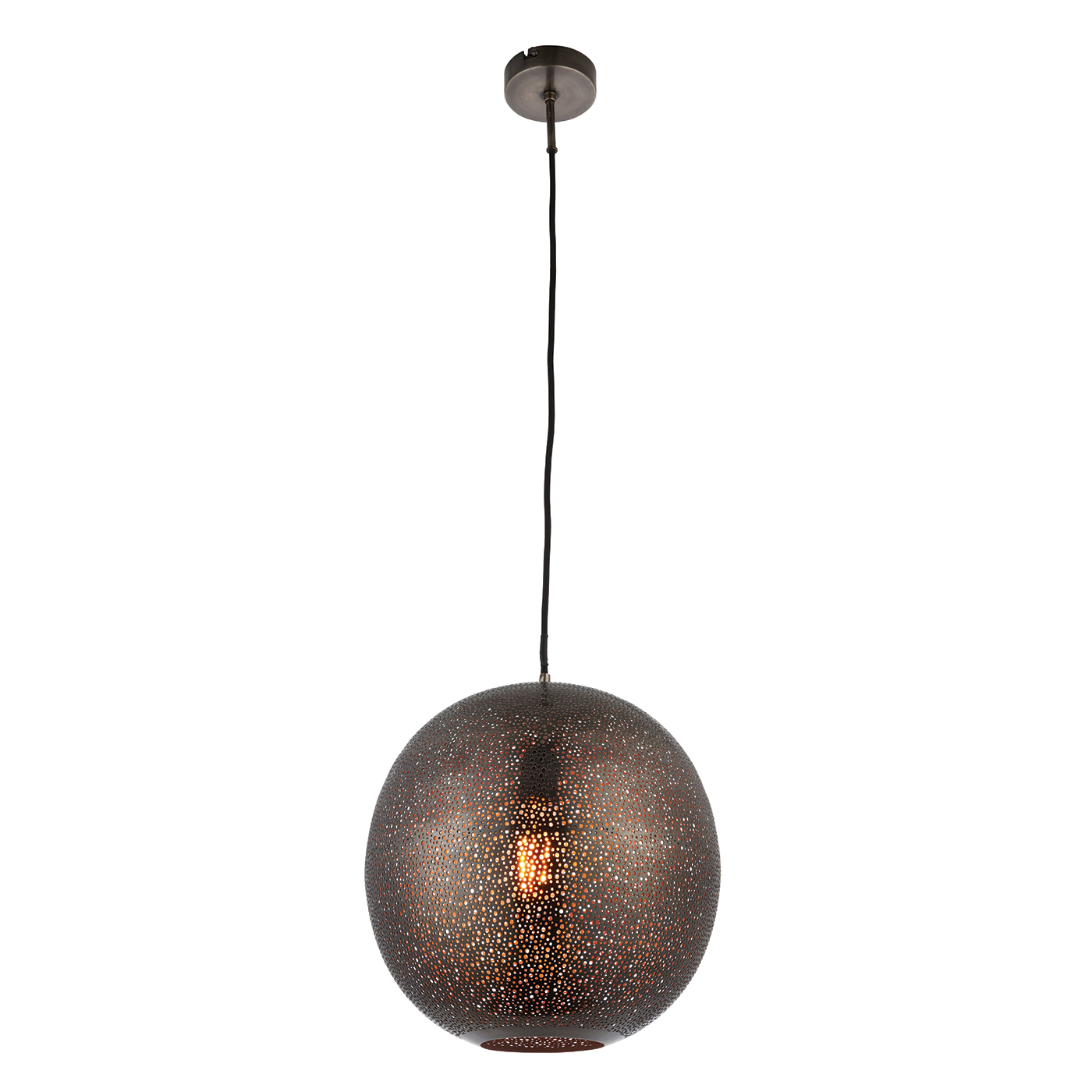 Endon Abu pendant 1x 40W Matt antique pewter effect plate
