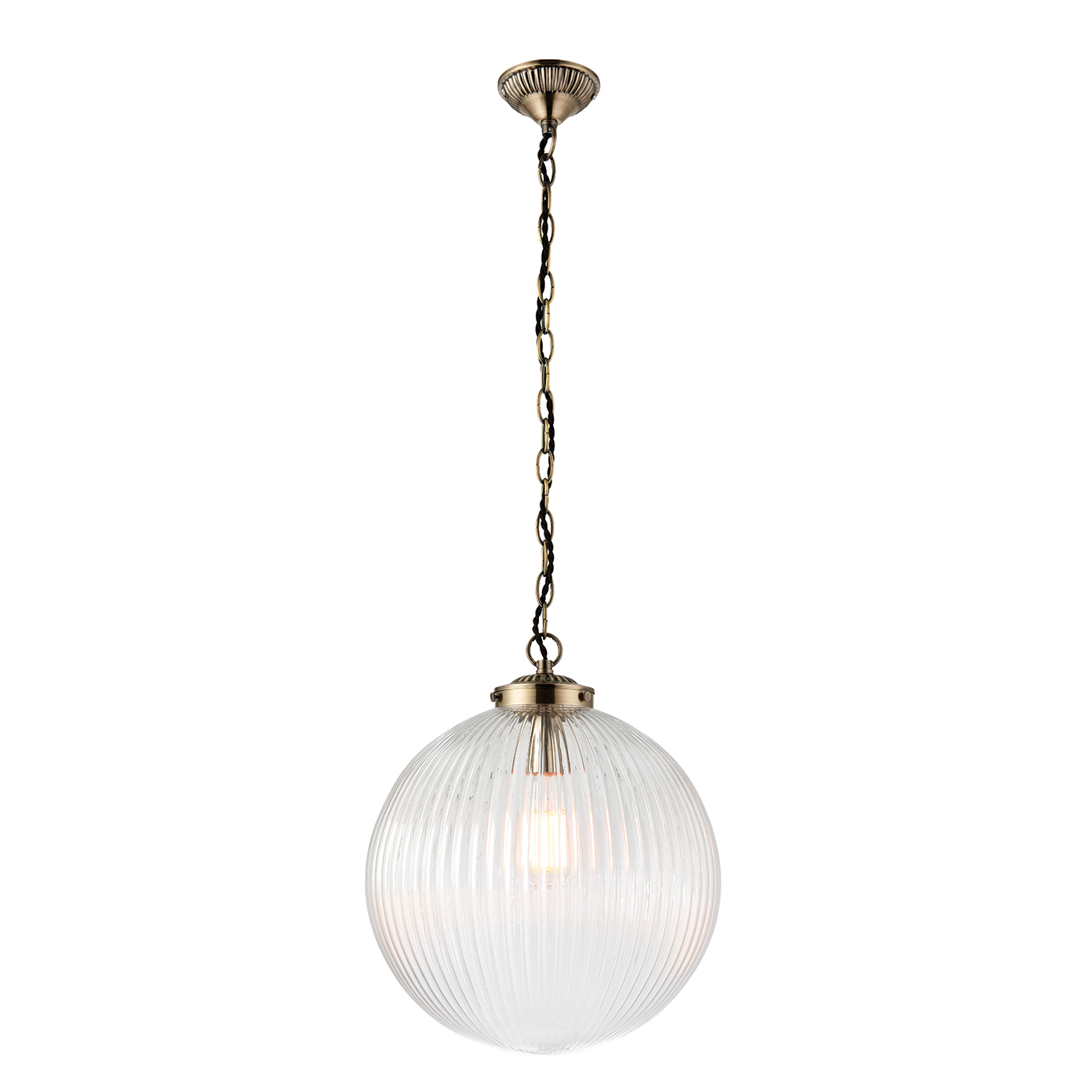 Endon Brydon pendant 1x 40W Clear ribbed glass & antique brass finish Thumbnail 1