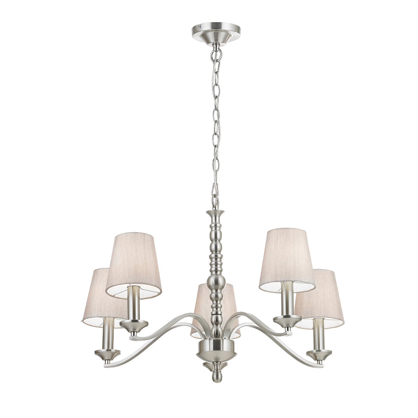Endon Astaire chandelier 5x 40W Satin nickel effect plate & natural tc fabric