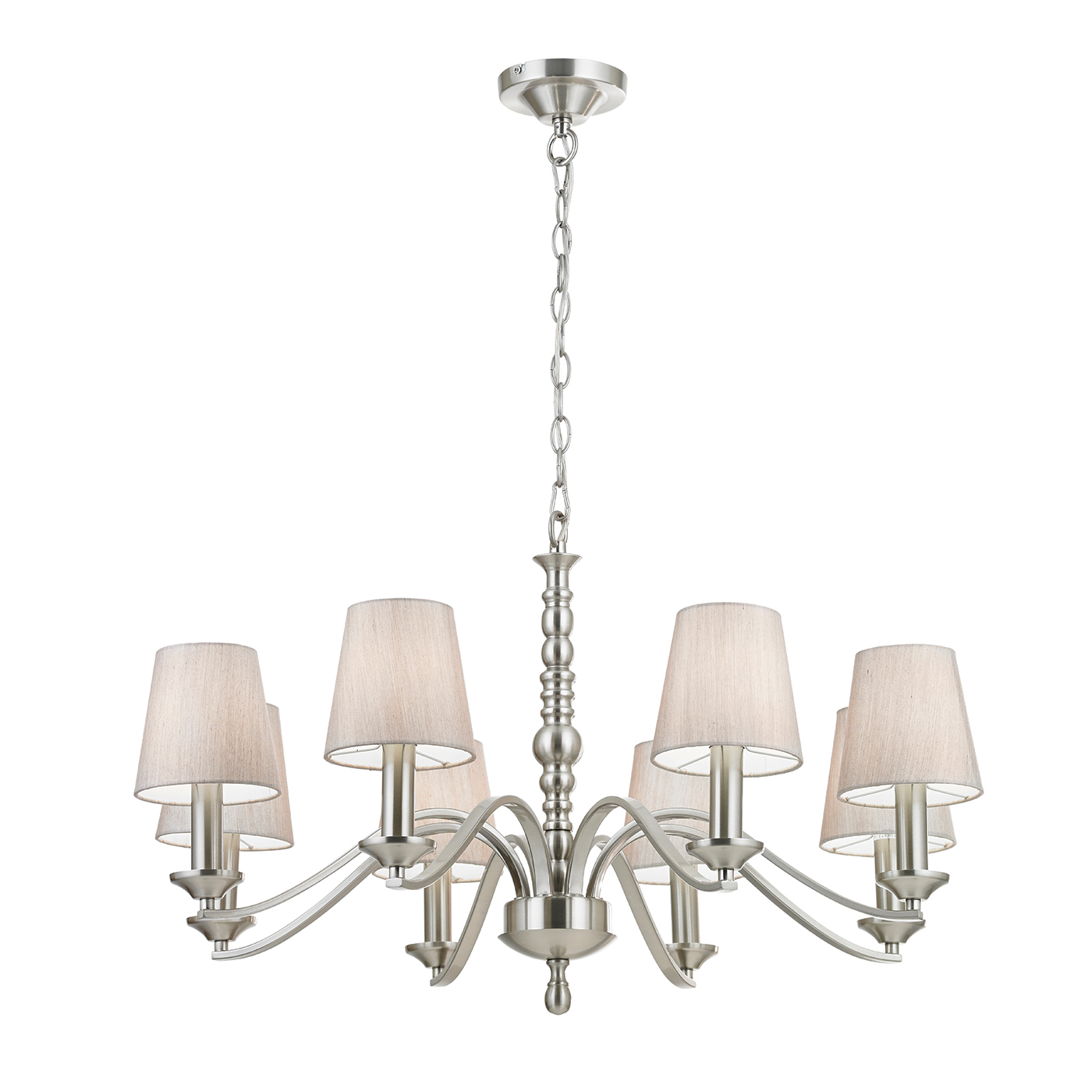 Endon Astaire chandelier 8x 40W Satin nickel effect plate & natural tc fabric