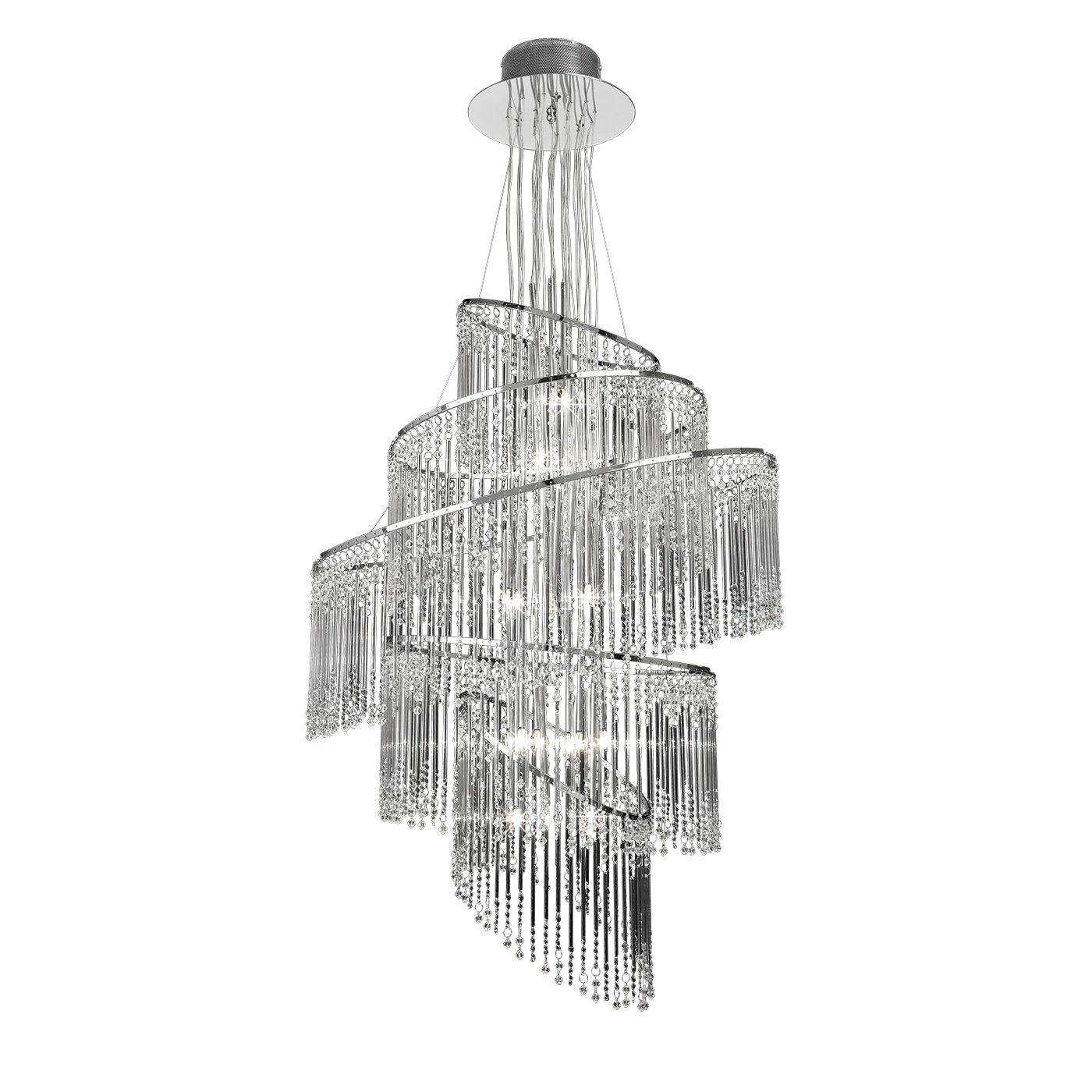 Endon Camille chandelier 24x 10W Clear glass & chrome effect plate Thumbnail 1