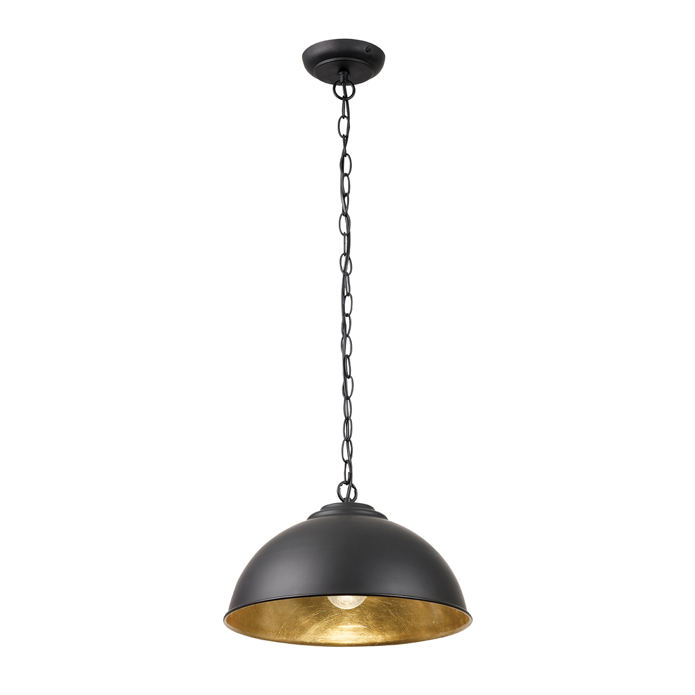 Endon Colman pendant 1x 60W Matt black & gold leaf