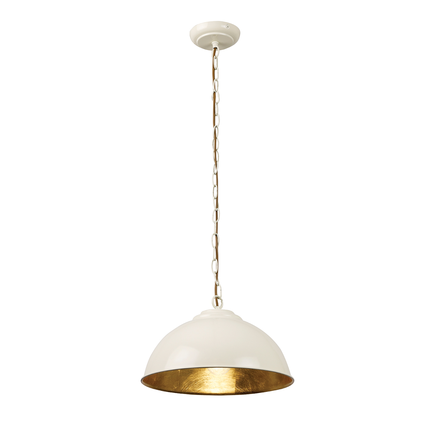 Endon Colman pendant 1x 60W Gloss cream paint & gold leaf Thumbnail 1