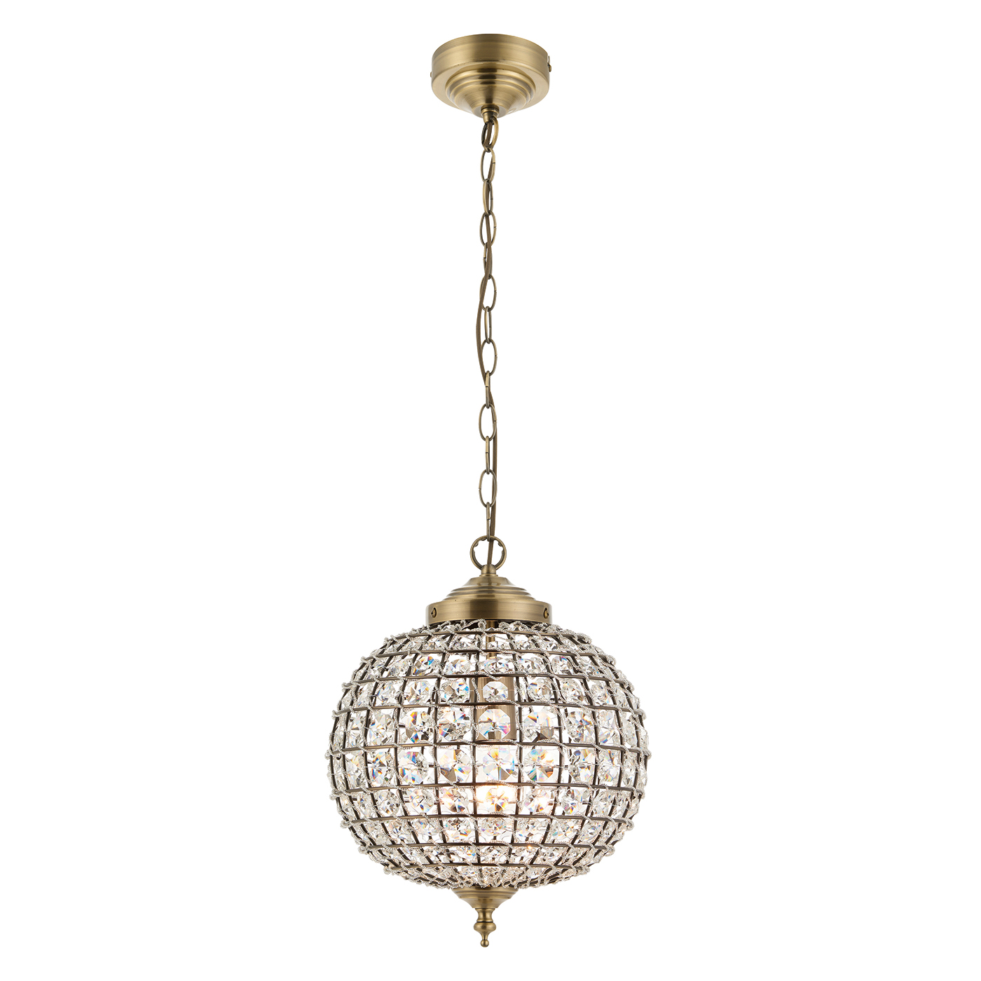 Endon Tanaro pendant 1x 60W Antique brass effect plate & clear glass detail