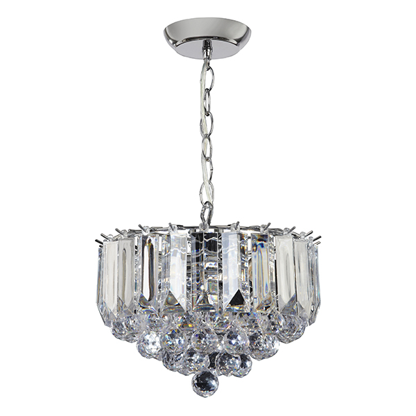 Endon Fargo small chandelier 3x 60W Chrome effect plate & clear acrylic Thumbnail 1