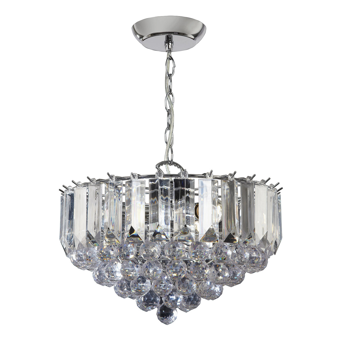 Endon Fargo chandelier 3x 60W Chrome effect plate & clear acrylic Thumbnail 1