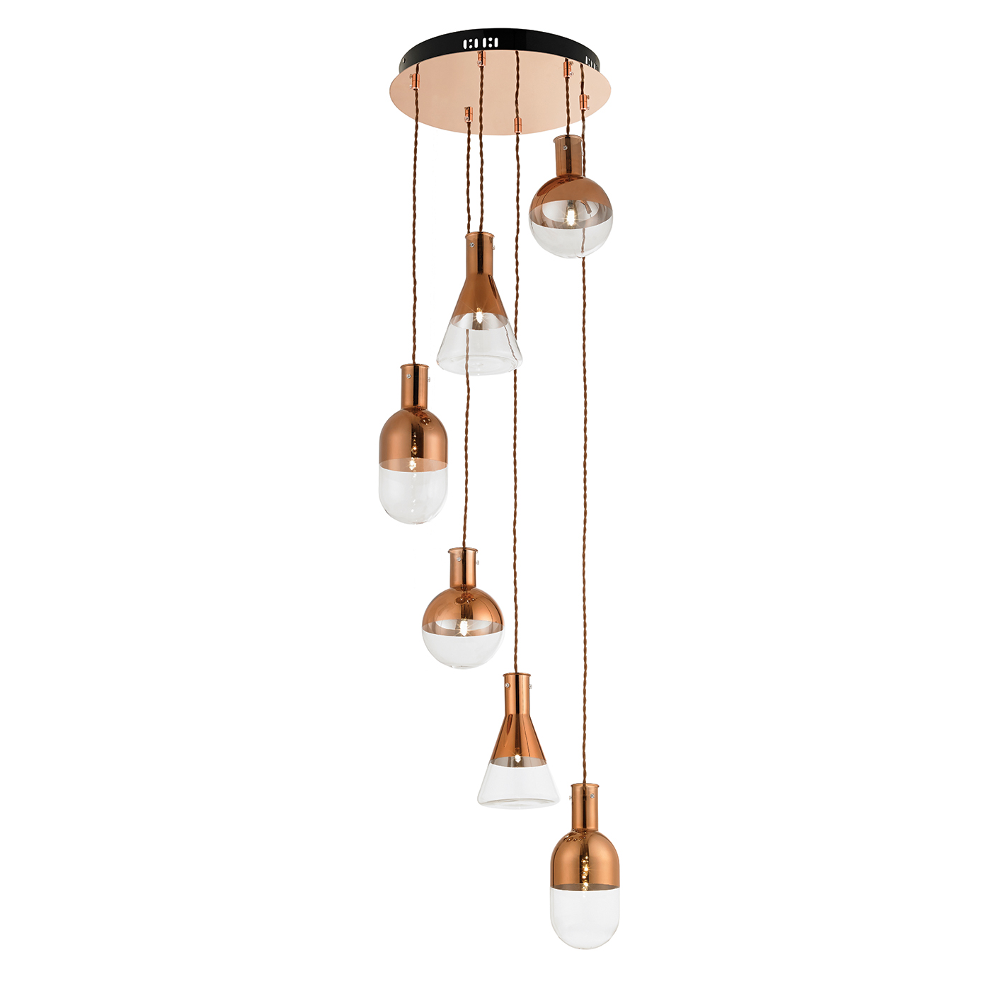 Endon Giamatti pendant 6x 20W Copper plate & clear glass with copper detail