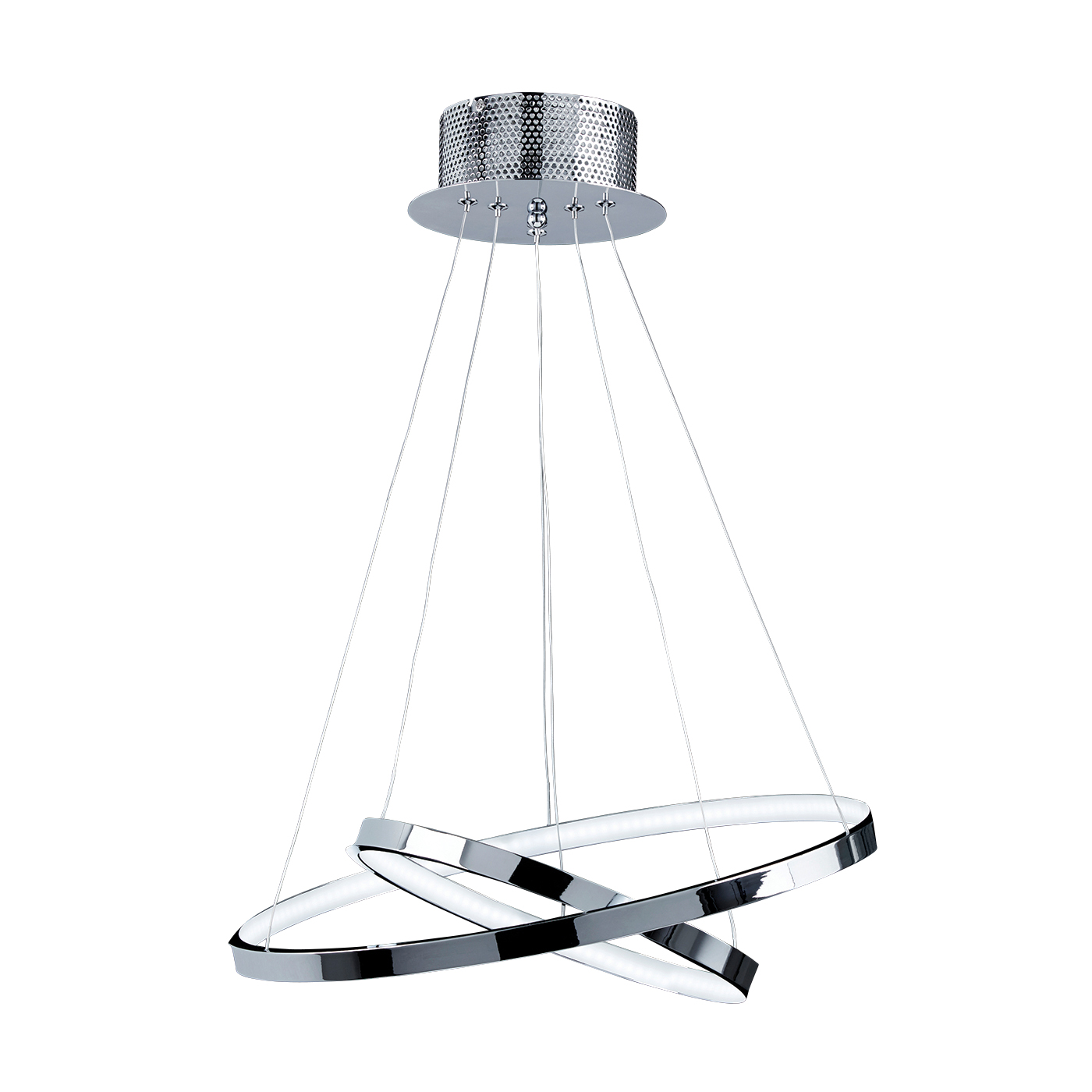 Endon Kline 2 ring pendant 21W Chrome effect plate & frosted acrylic