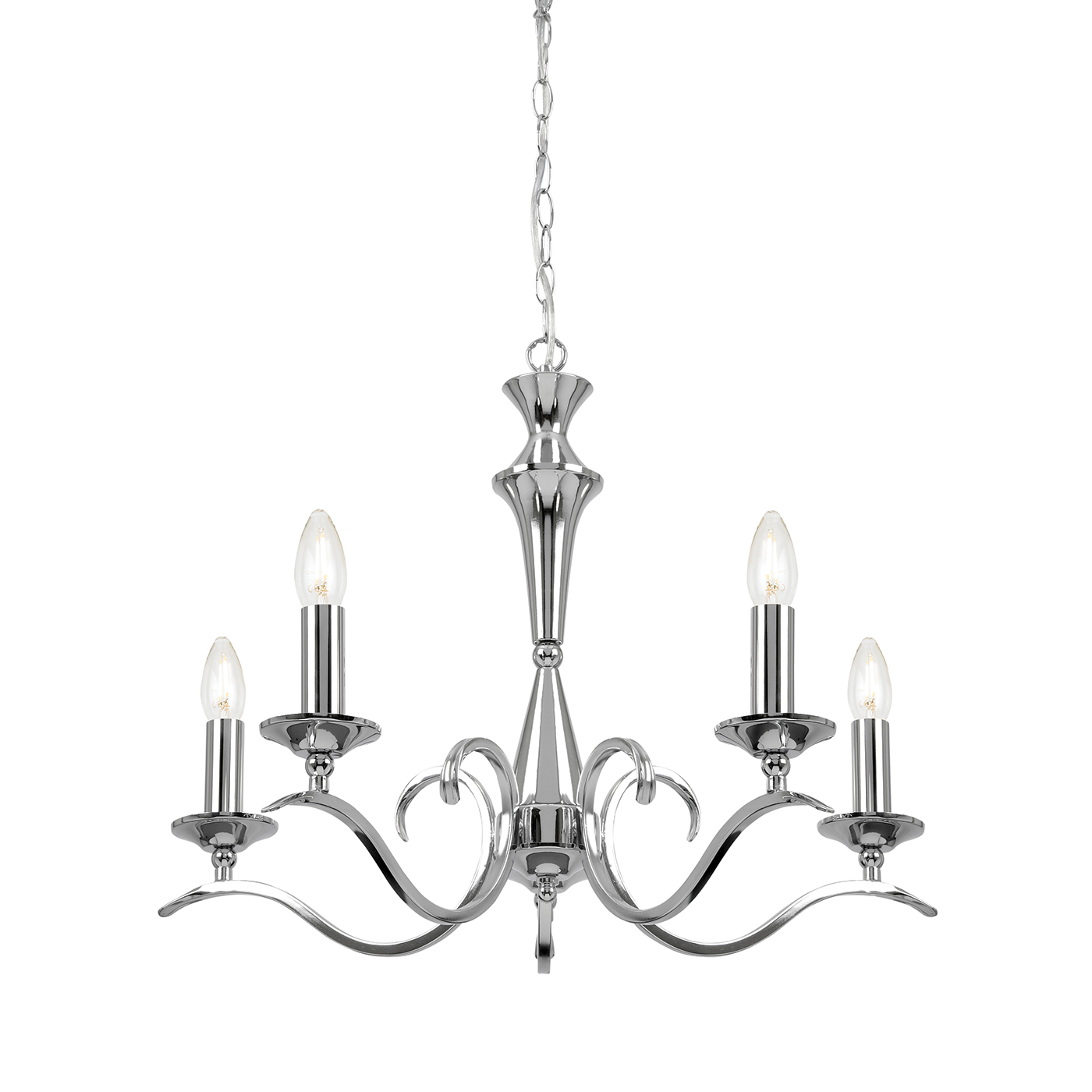Endon Kora pendant 5x 40W Chrome effect plate