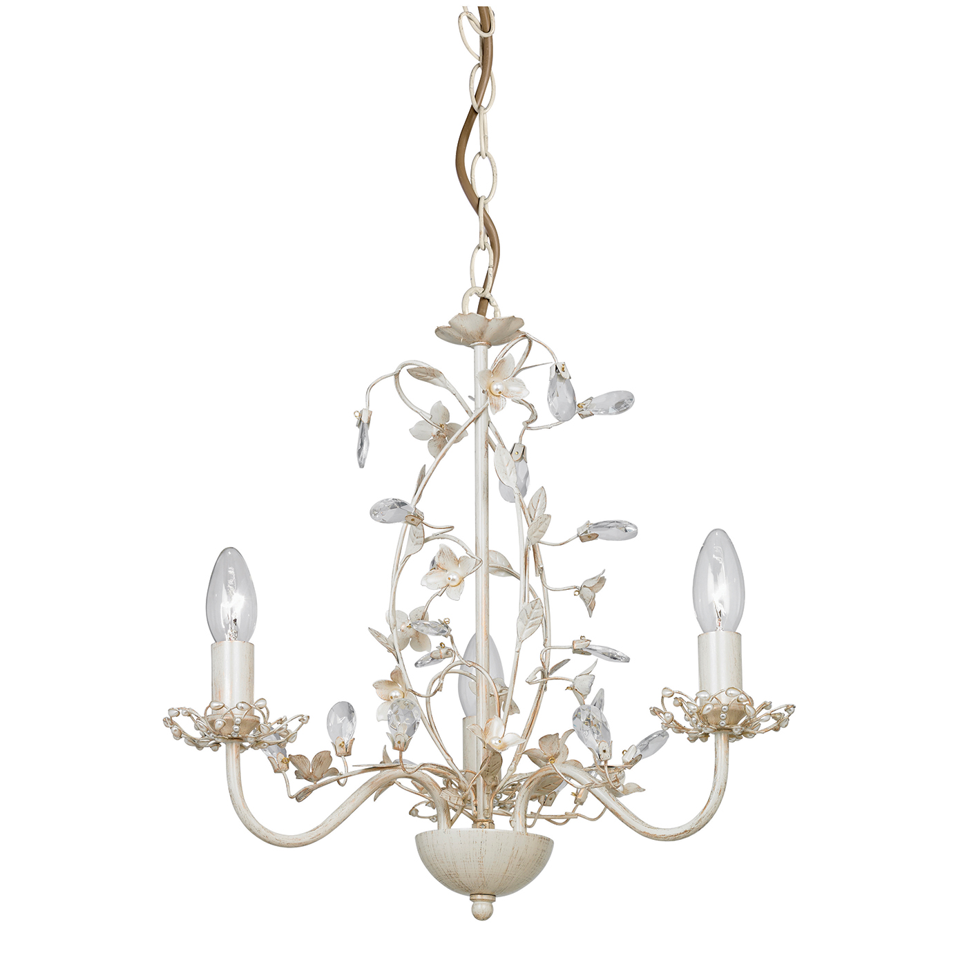 Endon Lullaby chandelier 3x 60W Cream brushed gold clear pearl