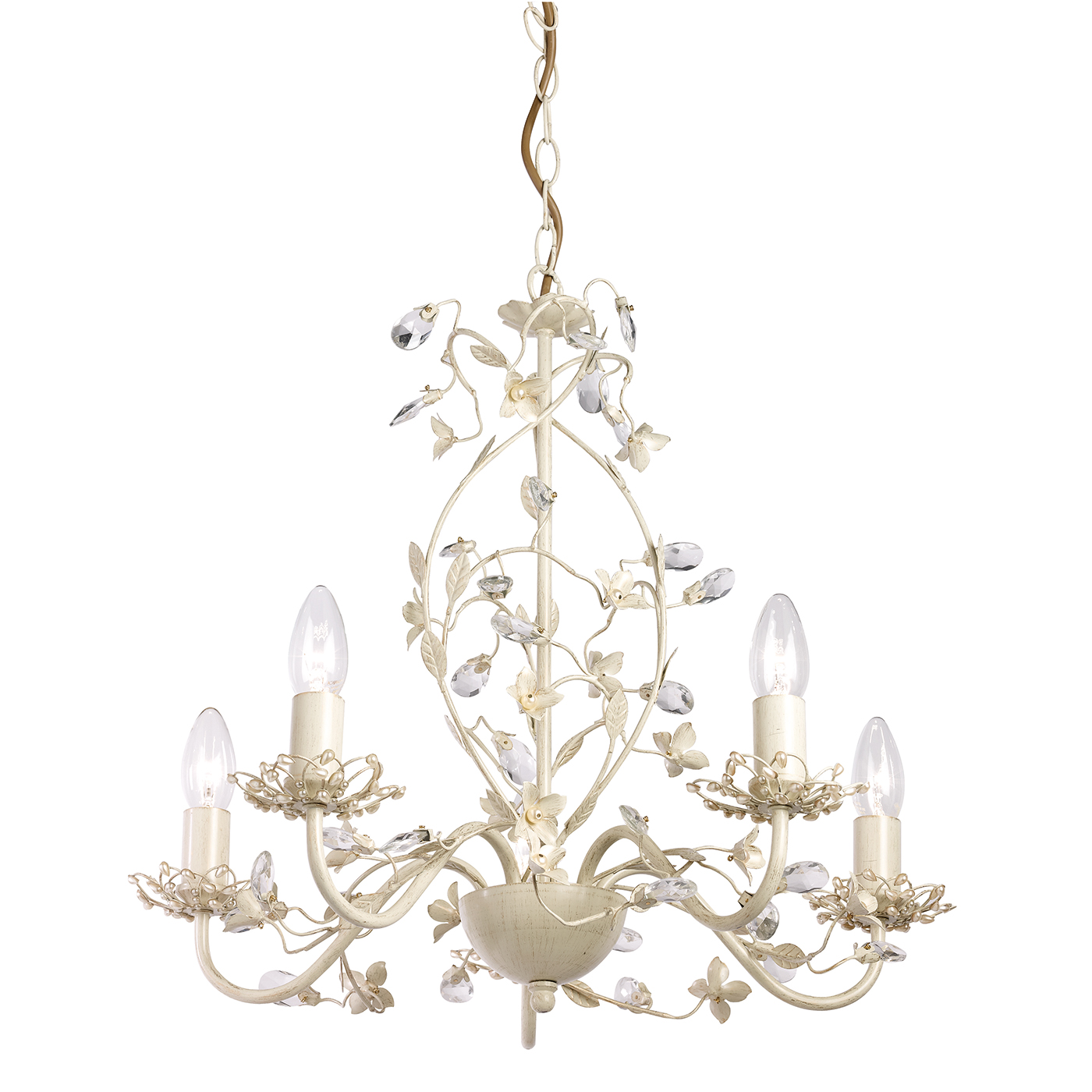 Endon Lullaby chandelier 5x 60W Cream brushed gold clear pearl effect acrylic Thumbnail 1