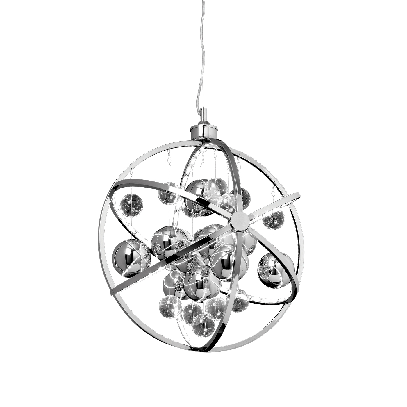 Endon Muni 480mm pendant 10W Chrome effect plate with clear & chrome glass balls
