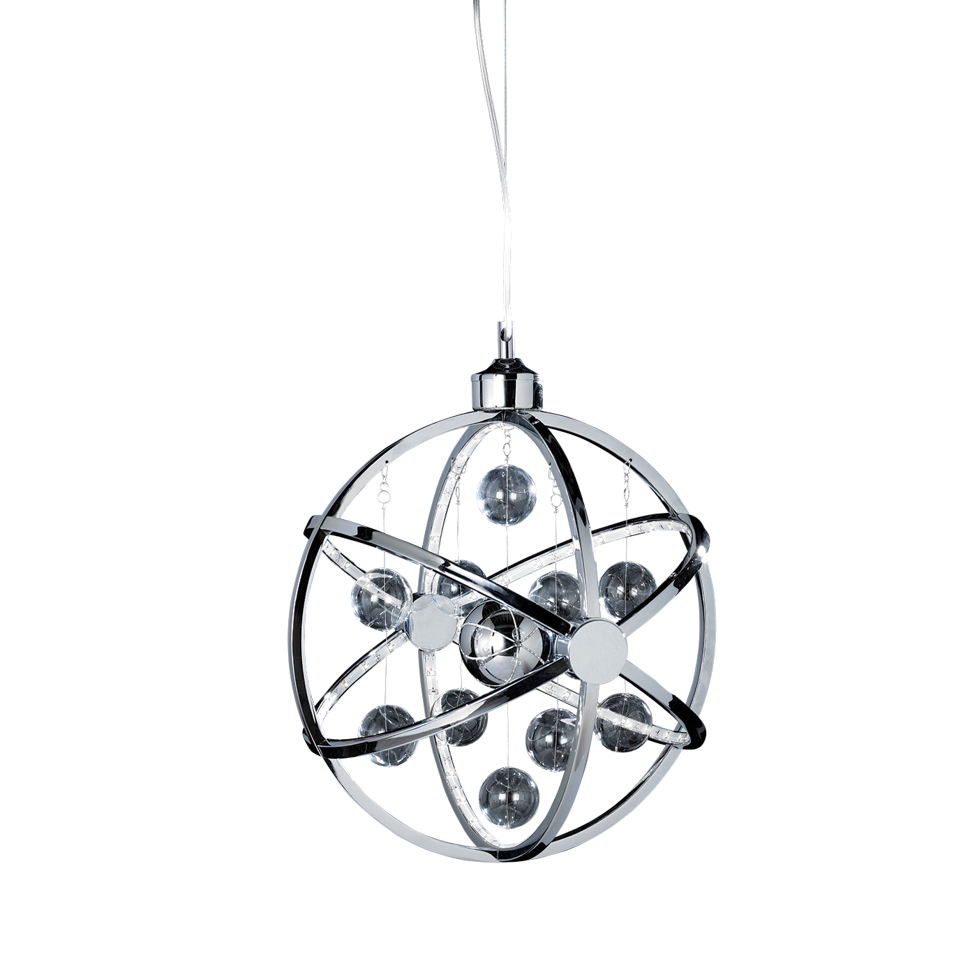 Endon Muni 390mm pendant 7.5W Chrome effect plate with clear chrome glass balls