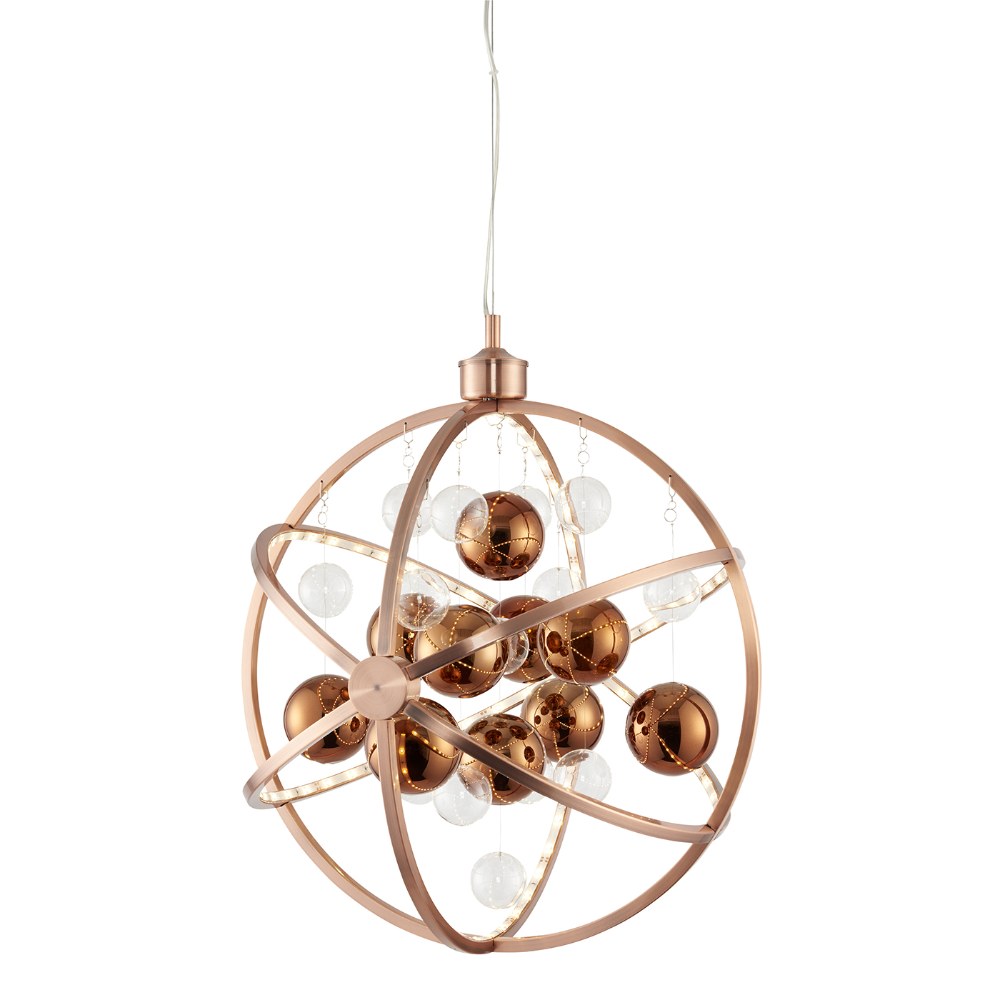 Endon Muni 480mm pendant 10W Copper plate with clear & copper balls