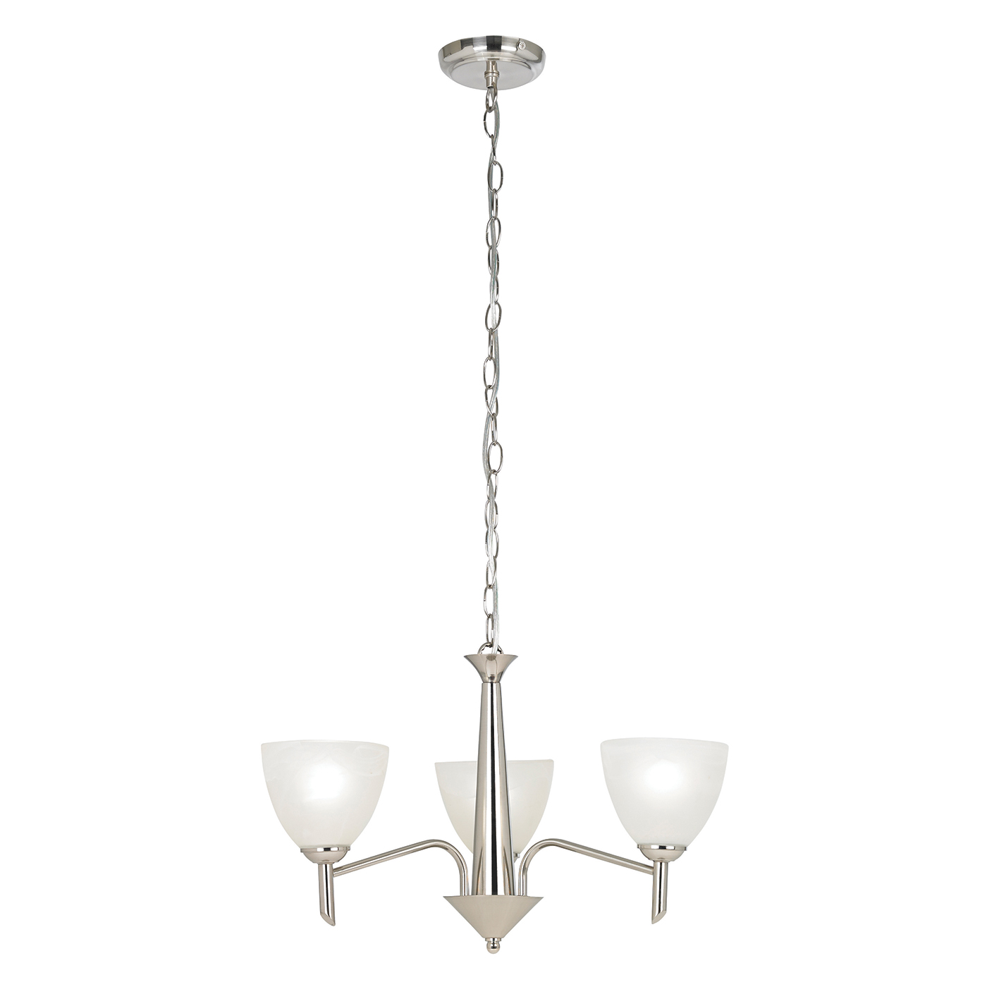 Endon Neeson pendant 3x 40W Satin nickel effect plate & alabaster glass Thumbnail 1
