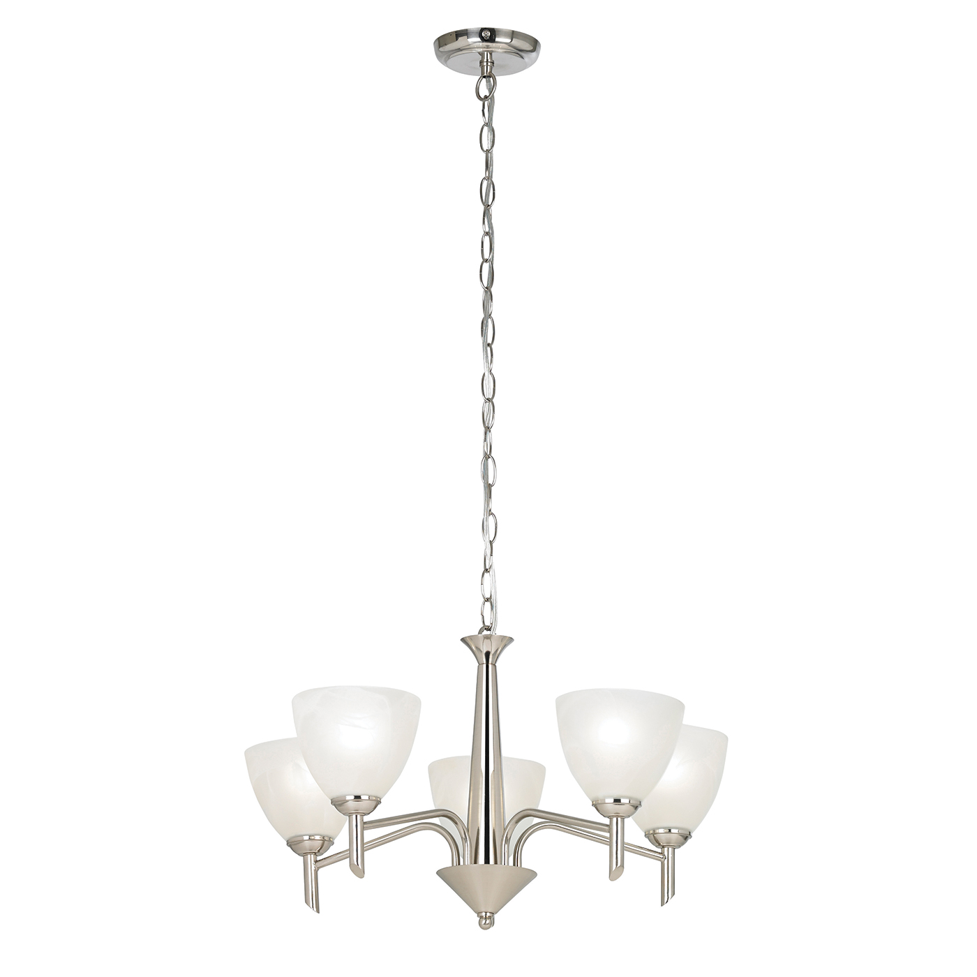 Endon Neeson pendant 5x 40W Satin nickel effect plate & alabaster glass