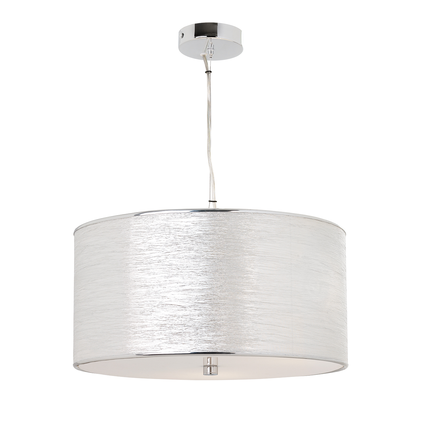 Endon Rebolo pendant 3x 60W Silver lame effect fabric & frosted acrylic