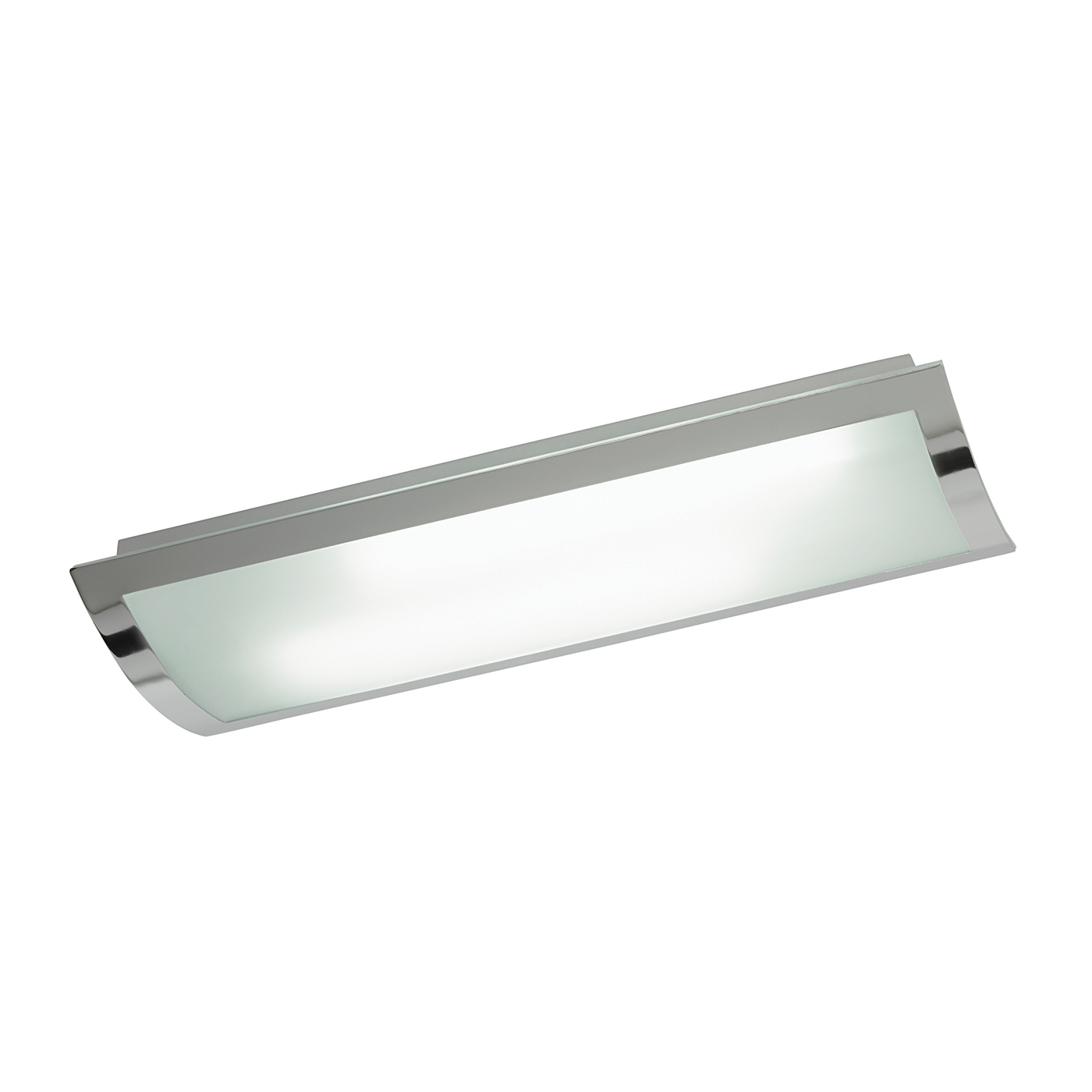 Endon Bay 675mm rectangle flush ceiling light HF 36W Chrome effect frosted glass