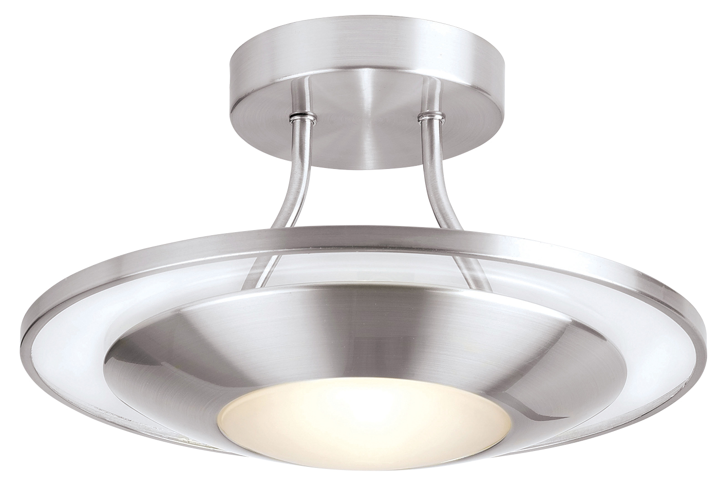 Endon Firenz semi flush ceiling light 120W Satin chrome clear & frosted glass Thumbnail 1