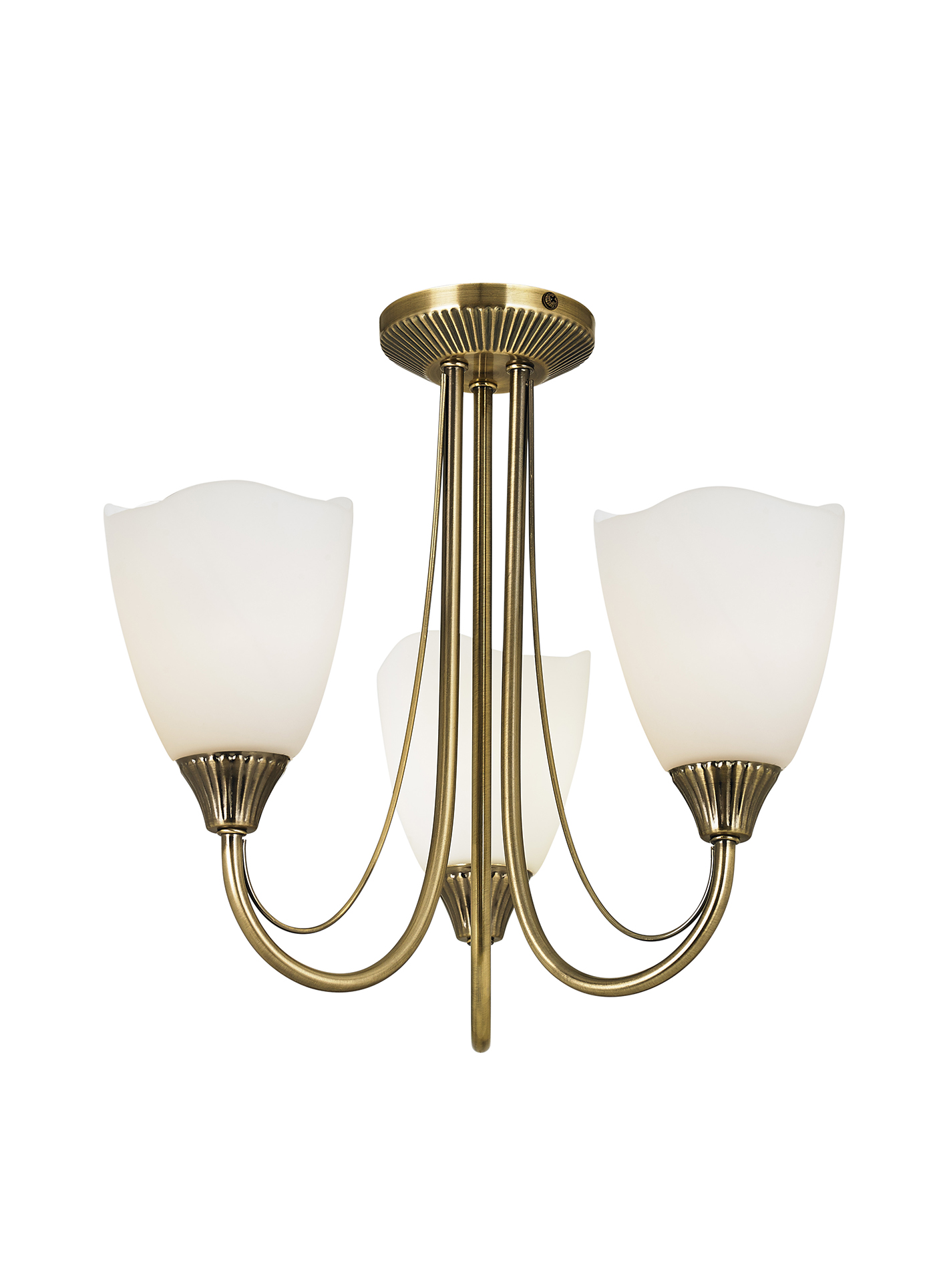 Endon Haughton ceiling light 3x 60W Antique brass effect plate & opal glass Thumbnail 1