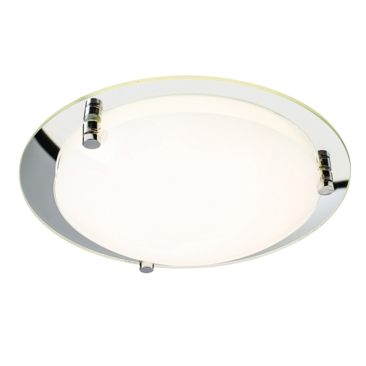Endon Foster 400mm flush ceiling light 18W Opal & mirrored glass