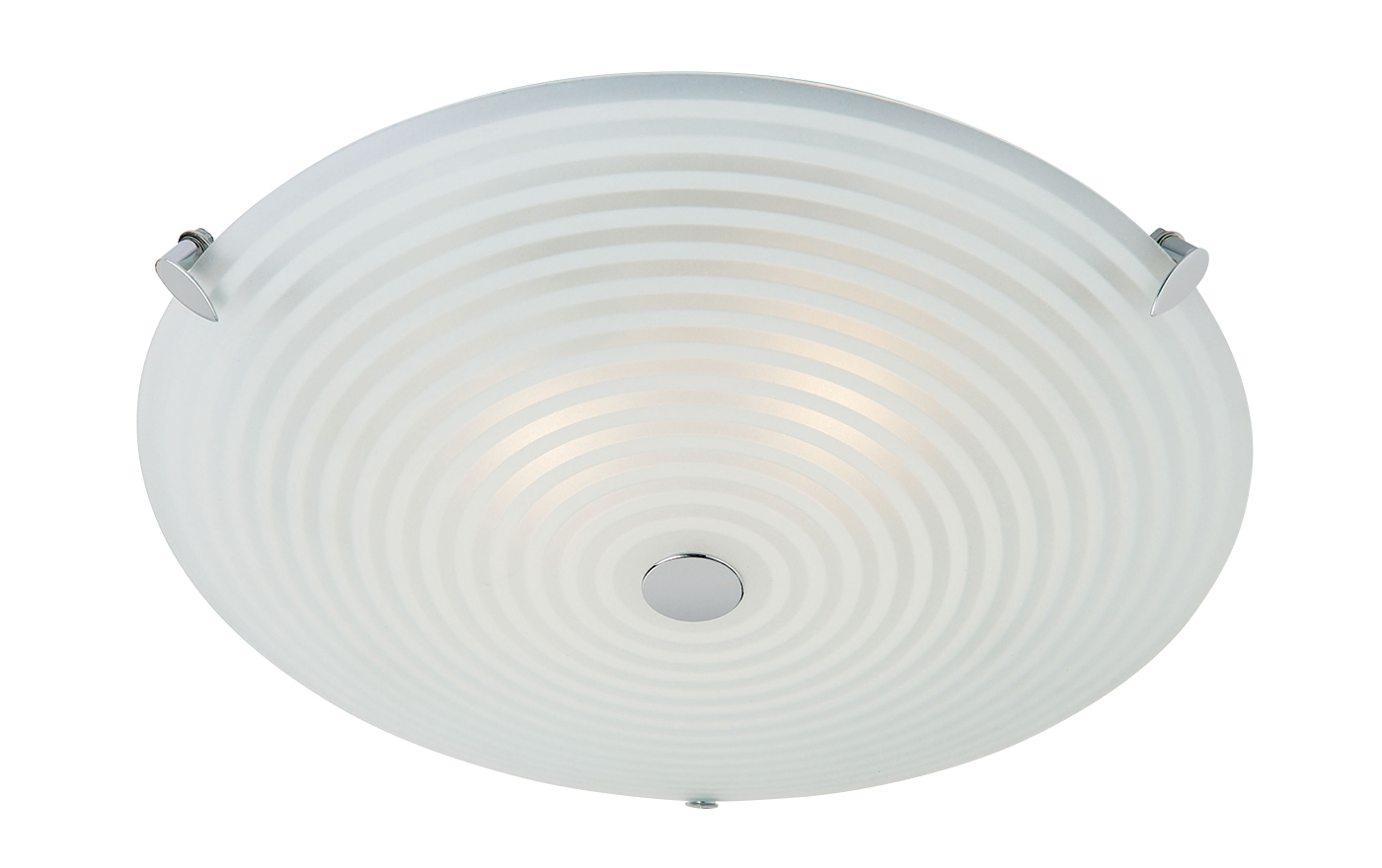 Endon Roundel flush ceiling light 2x 40W Frosted white & clear glass chrome Thumbnail 1
