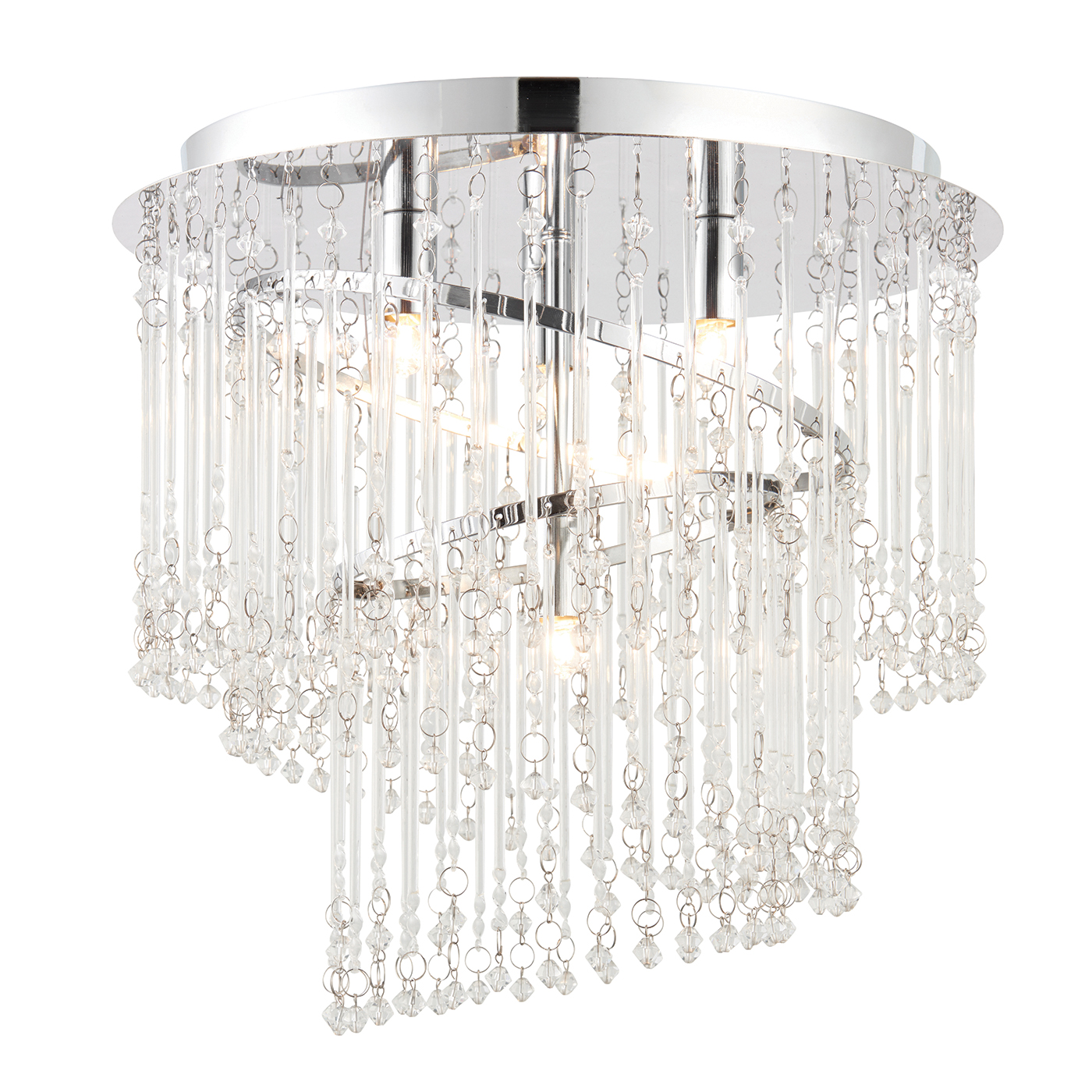 Endon Camille flush ceiling light 4x 28W Clear glass & chrome effect plate Thumbnail 1
