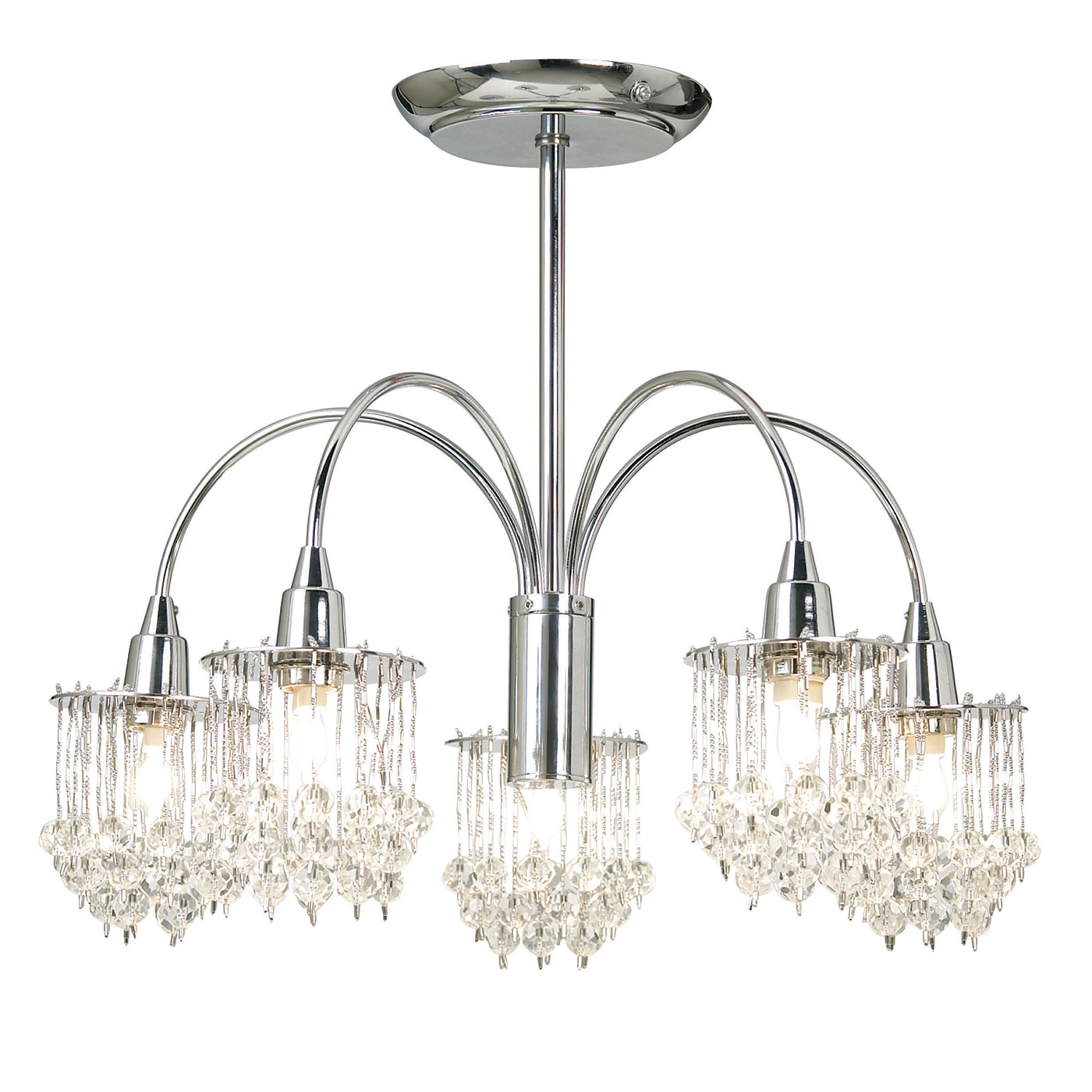 Endon Milieu ceiling light 5x 33W Chrome effect & clear faceted glass beads