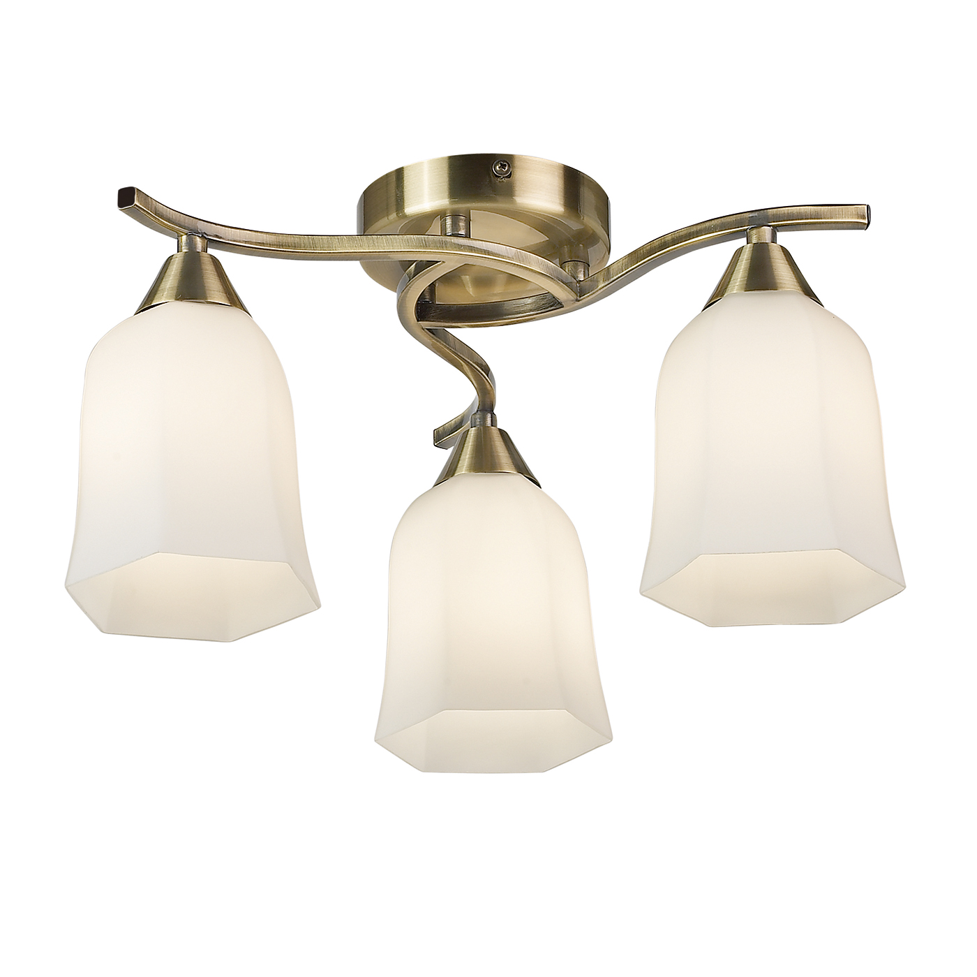 Endon Alonso ceiling light 3x 40W Antique brass effect plate & matt opal glass