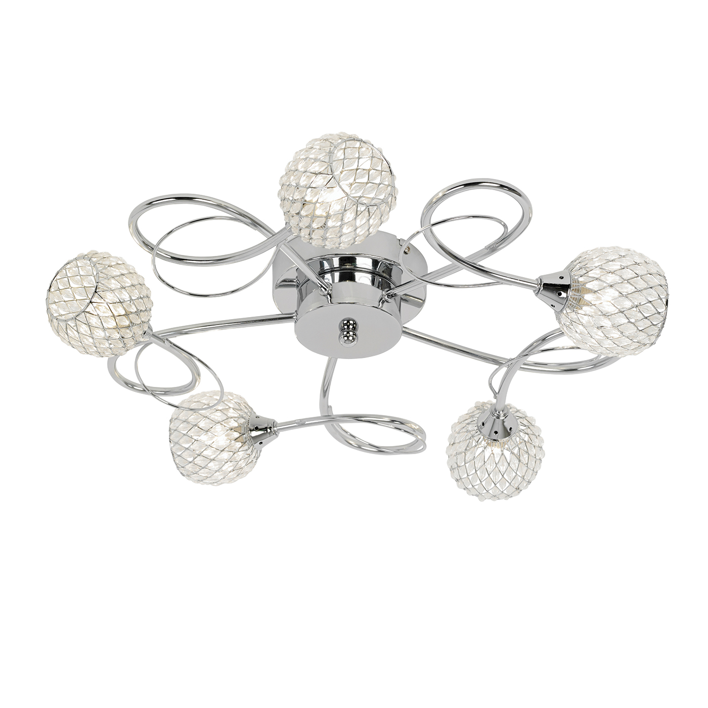 Endon Aherne ceiling light 5x 33W Chrome effect chrome wire & clear bead shade