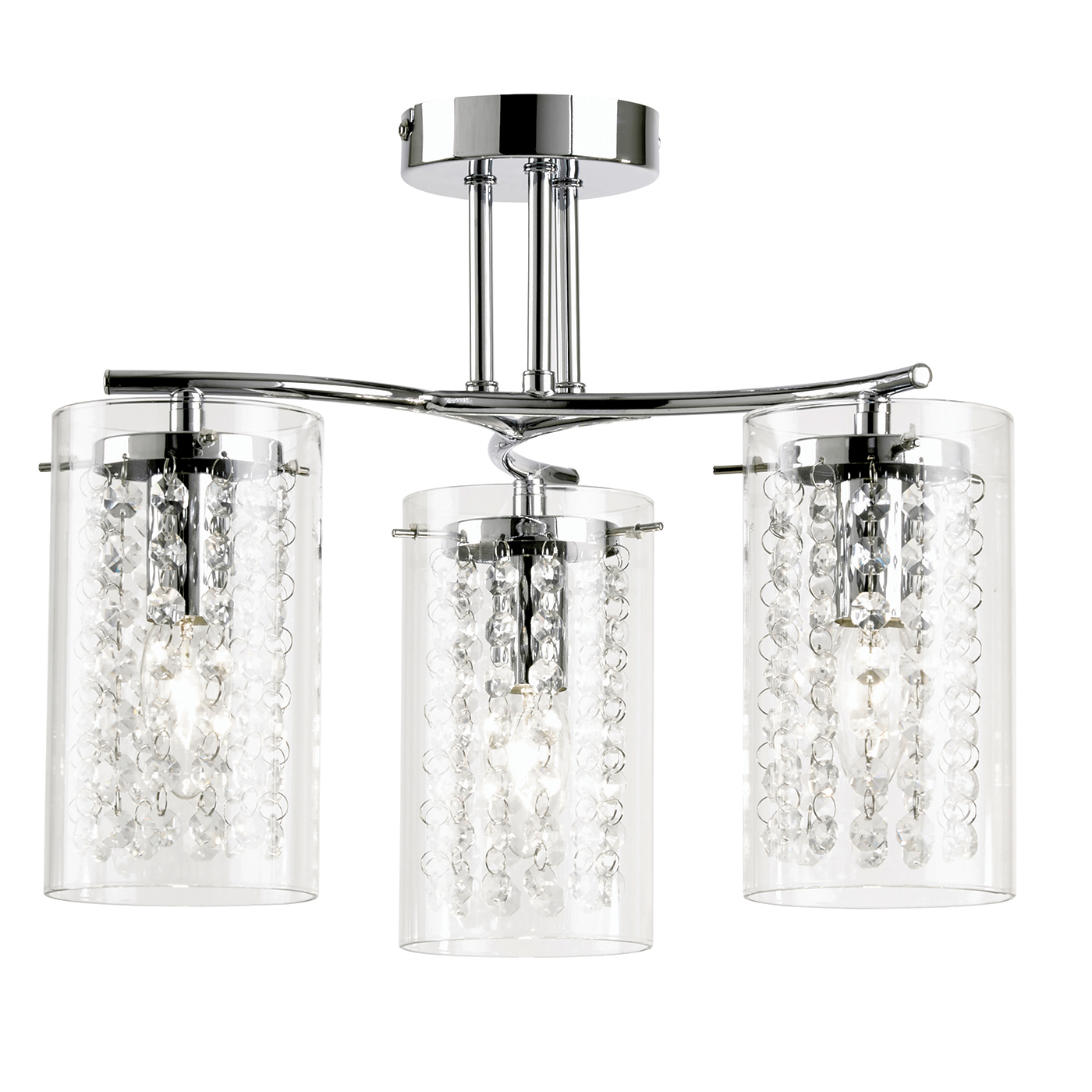 Endon Alda ceiling light 3x 40W Chrome effect plate & clear glass drops