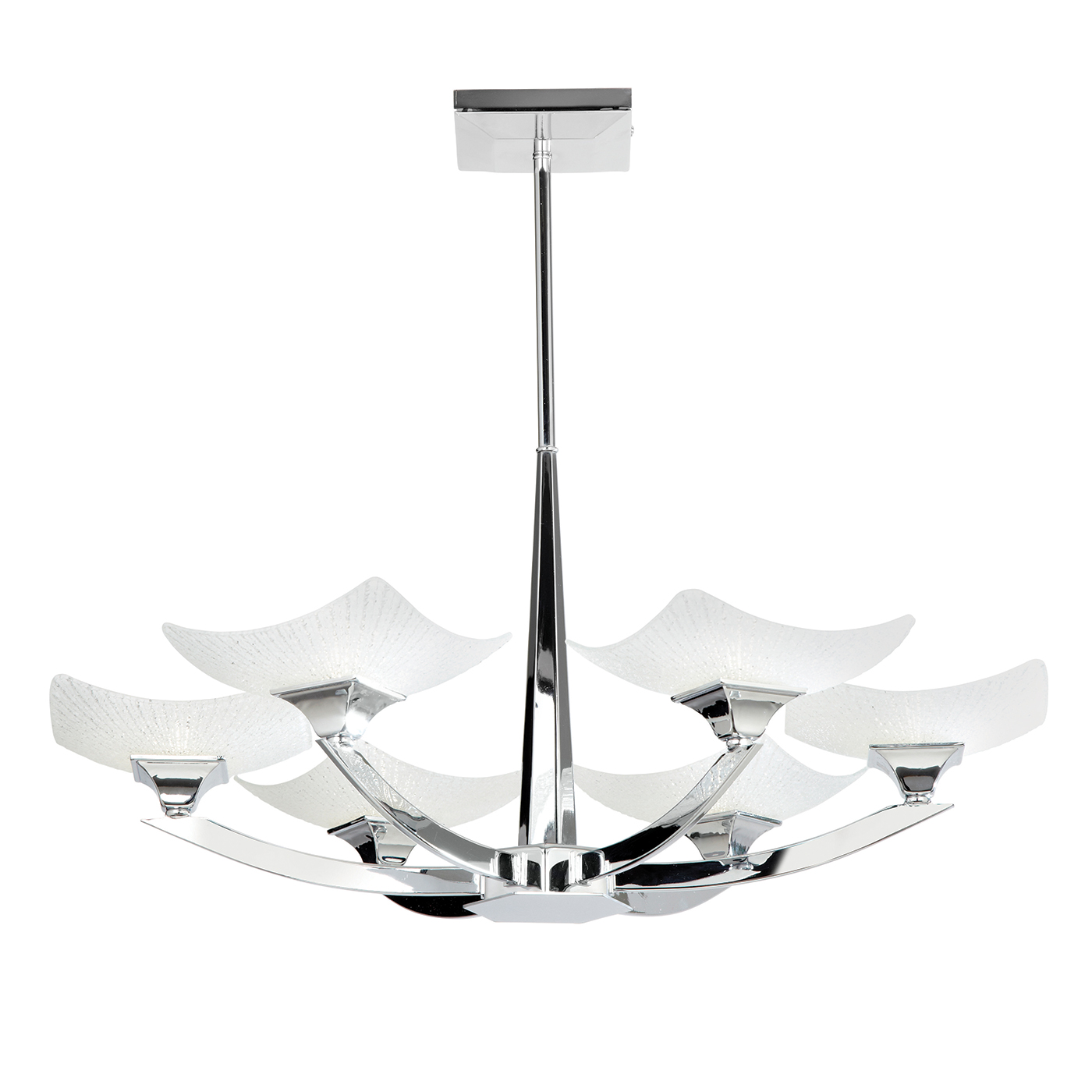 Endon Ayres ceiling light 6x 33W Chrome effect plate & scavo effect glass