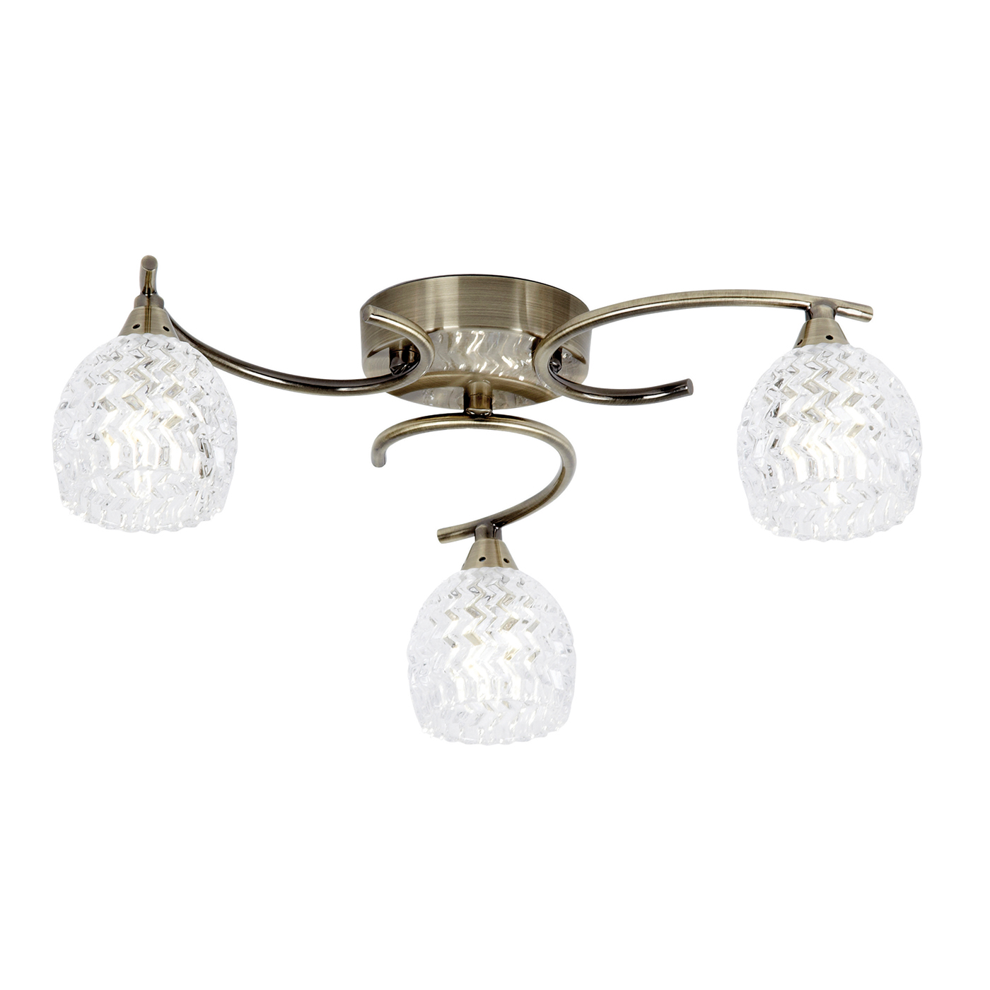 Endon Boyer ceiling light 3x 33W Antique brass effect clear glass pattern detail