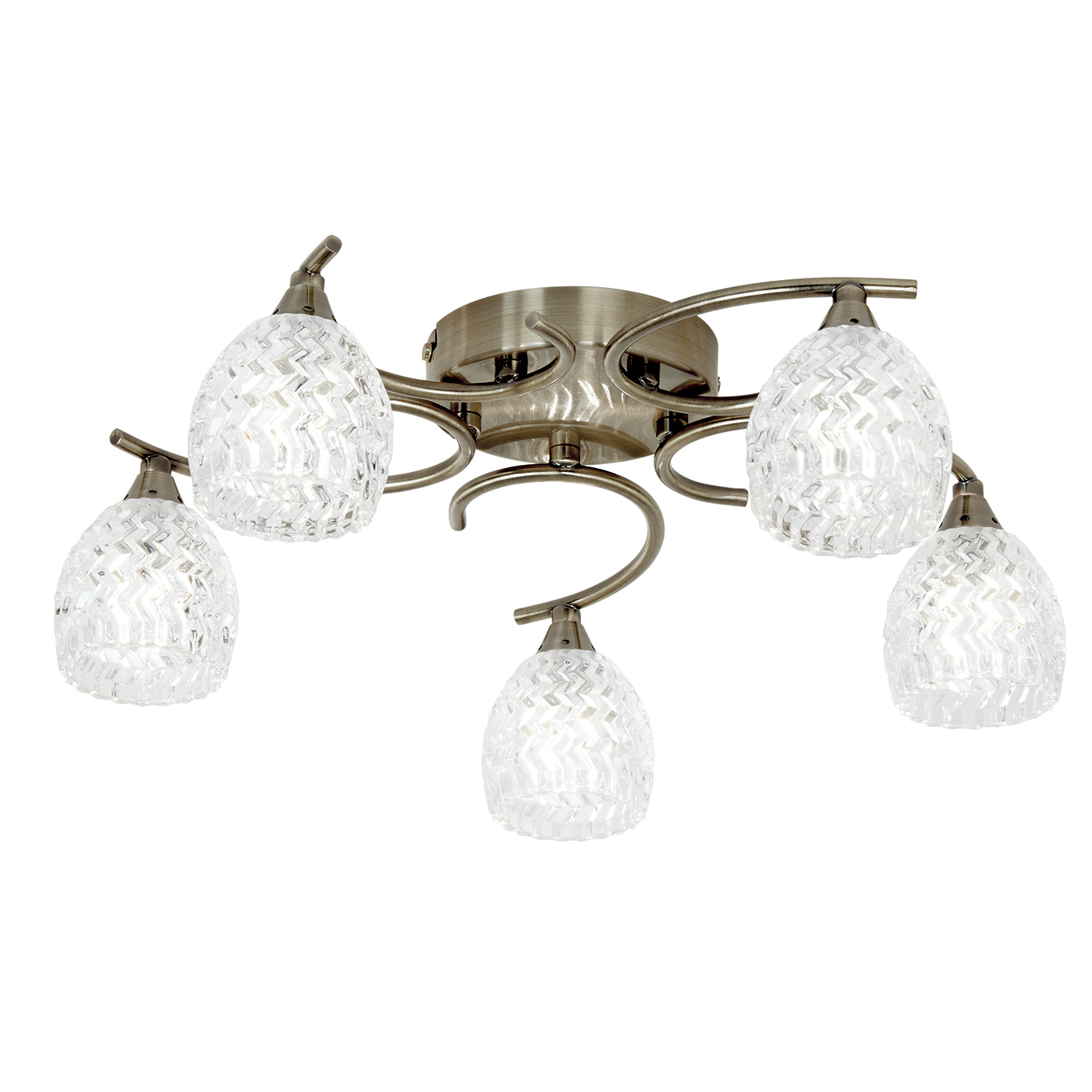 Endon Boyer ceiling light 5x 33W Antique brass effect & clear glass pattern