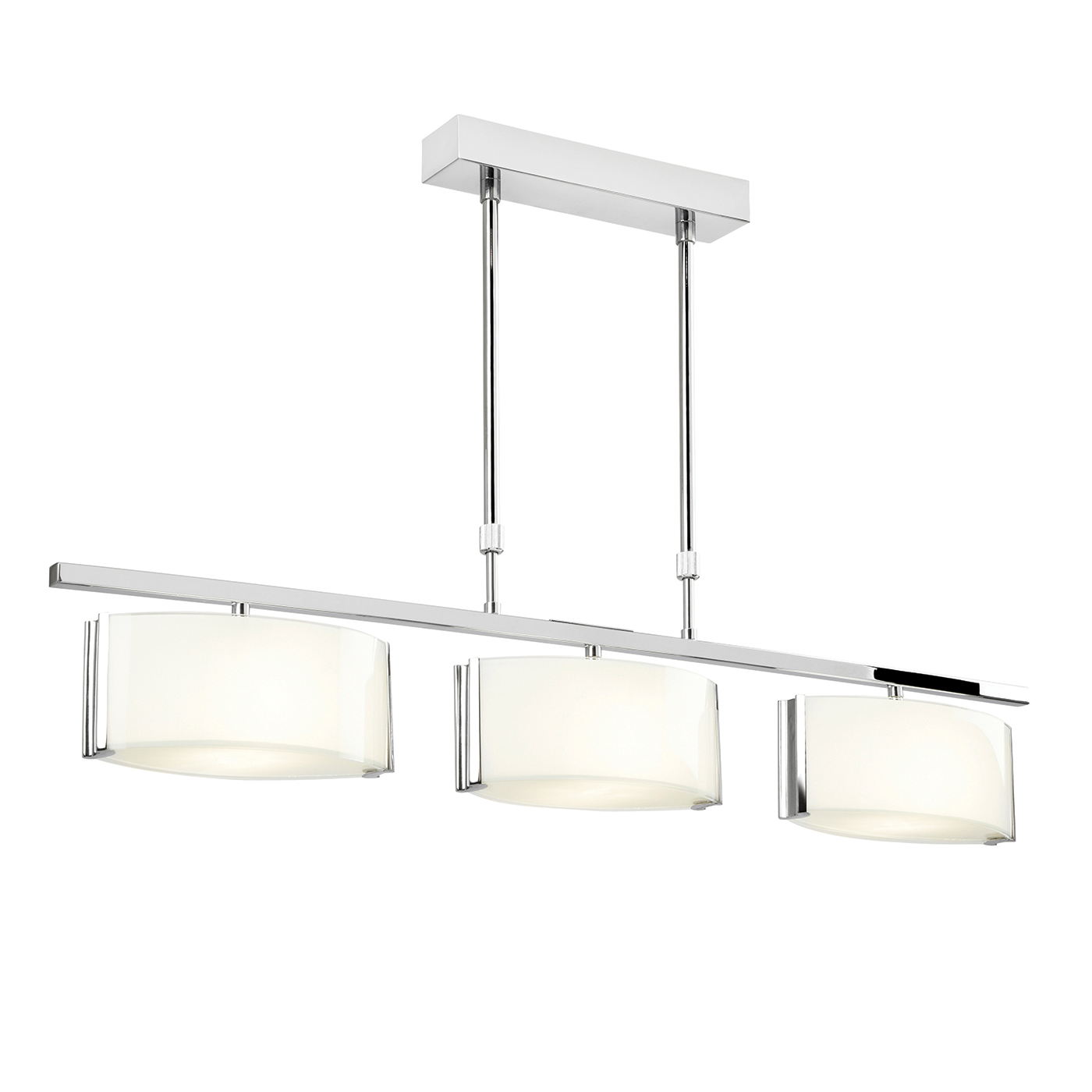 Endon Clef ceiling light bar semi flush 3x 33W Chrome effect & gloss white glass Thumbnail 1