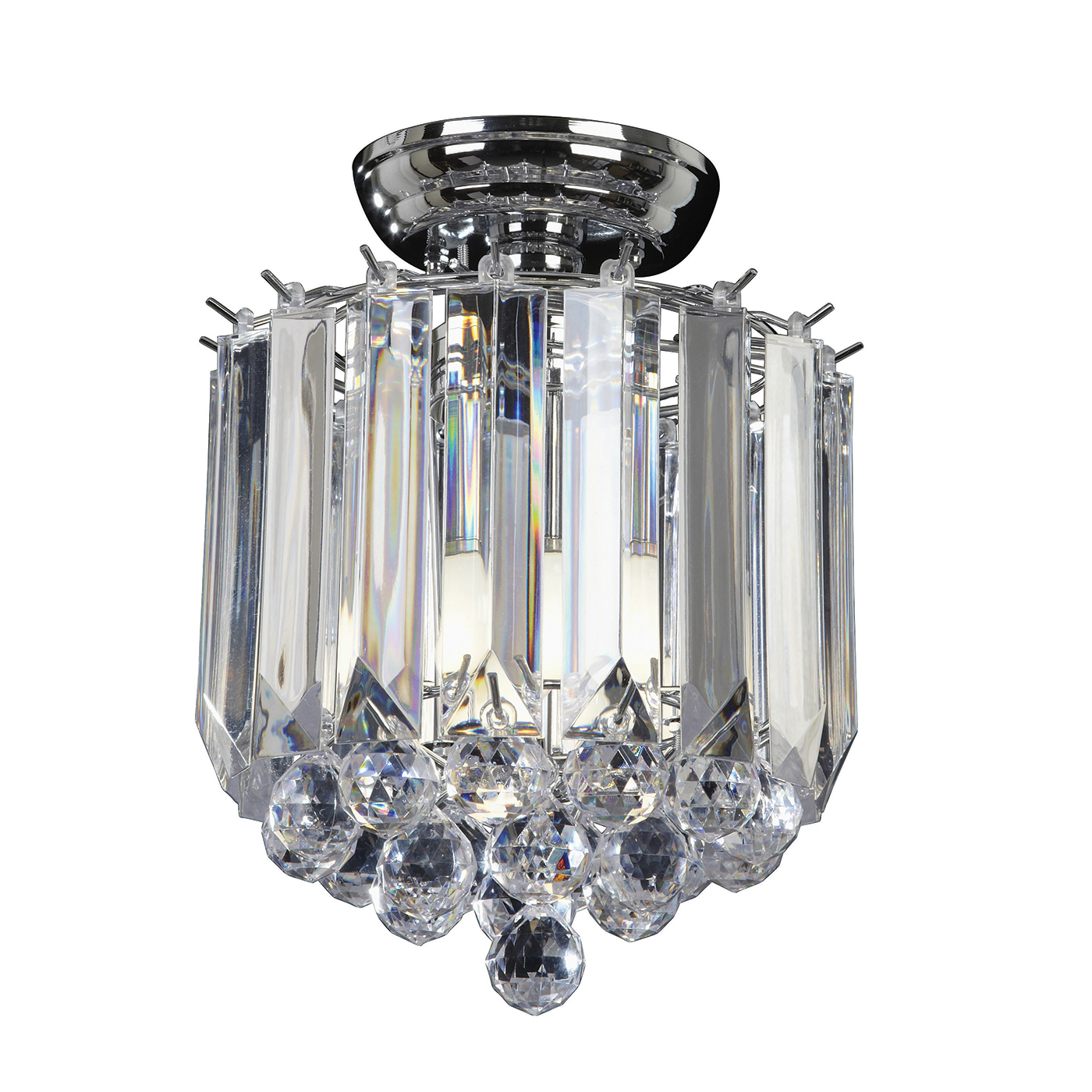 Endon Fargo flush ceiling light 2x 40W Chrome effect plate & clear acrylic