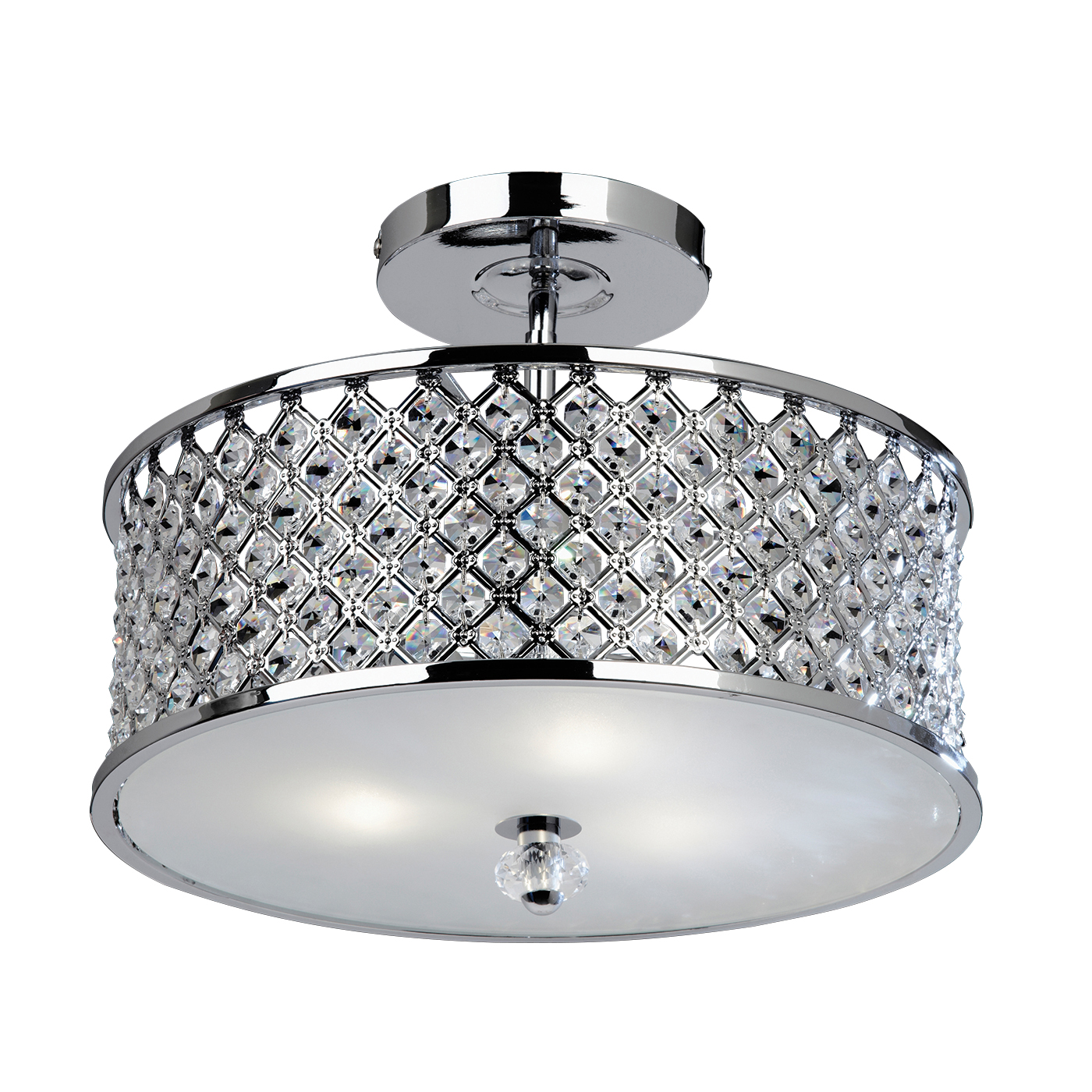 Endon Hudson flush ceiling light 3x 60W Chrome effect & clear crystal (k9) drops Thumbnail 1