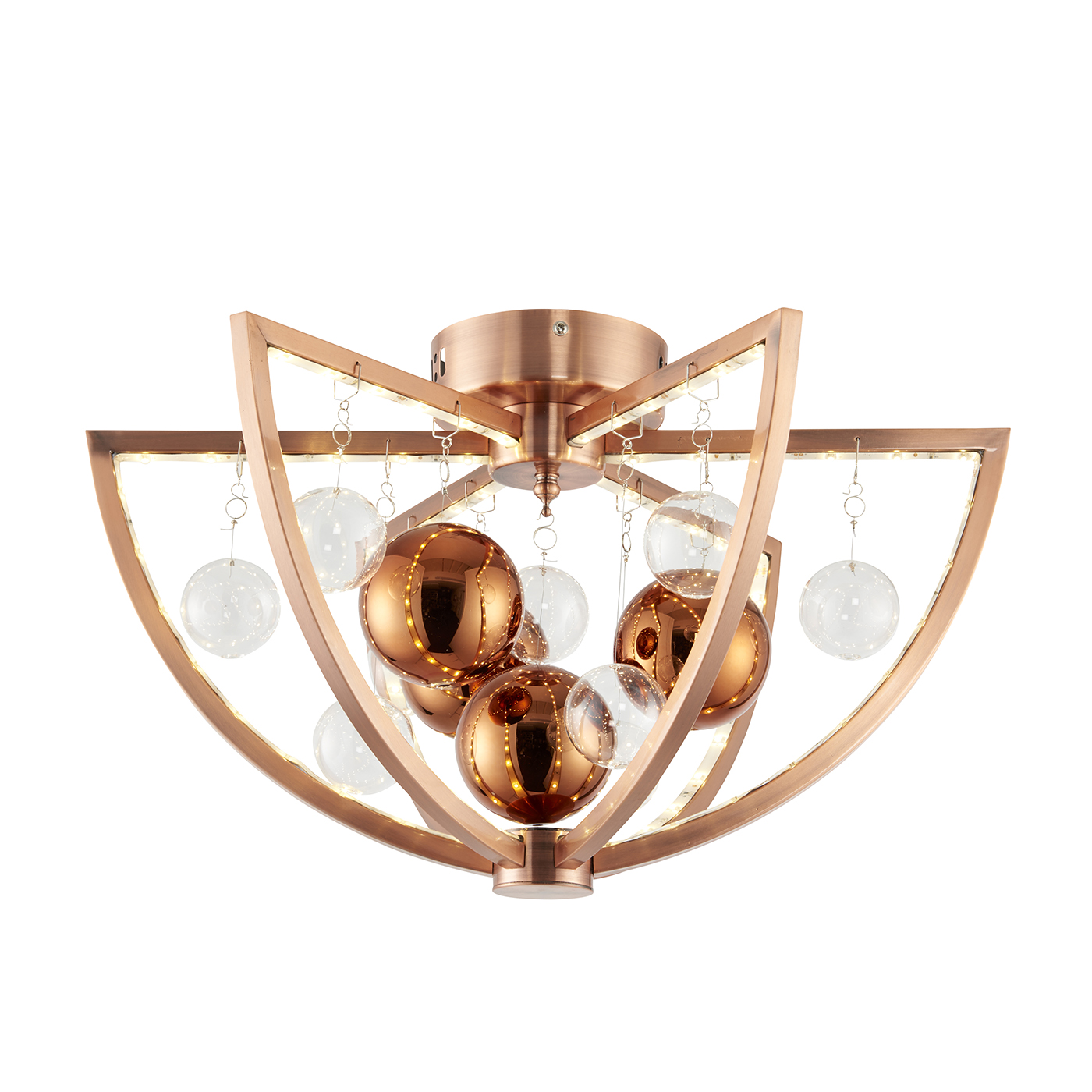 Endon Muni flush ceiling light 7.5W Copper plate with clear & copper balls