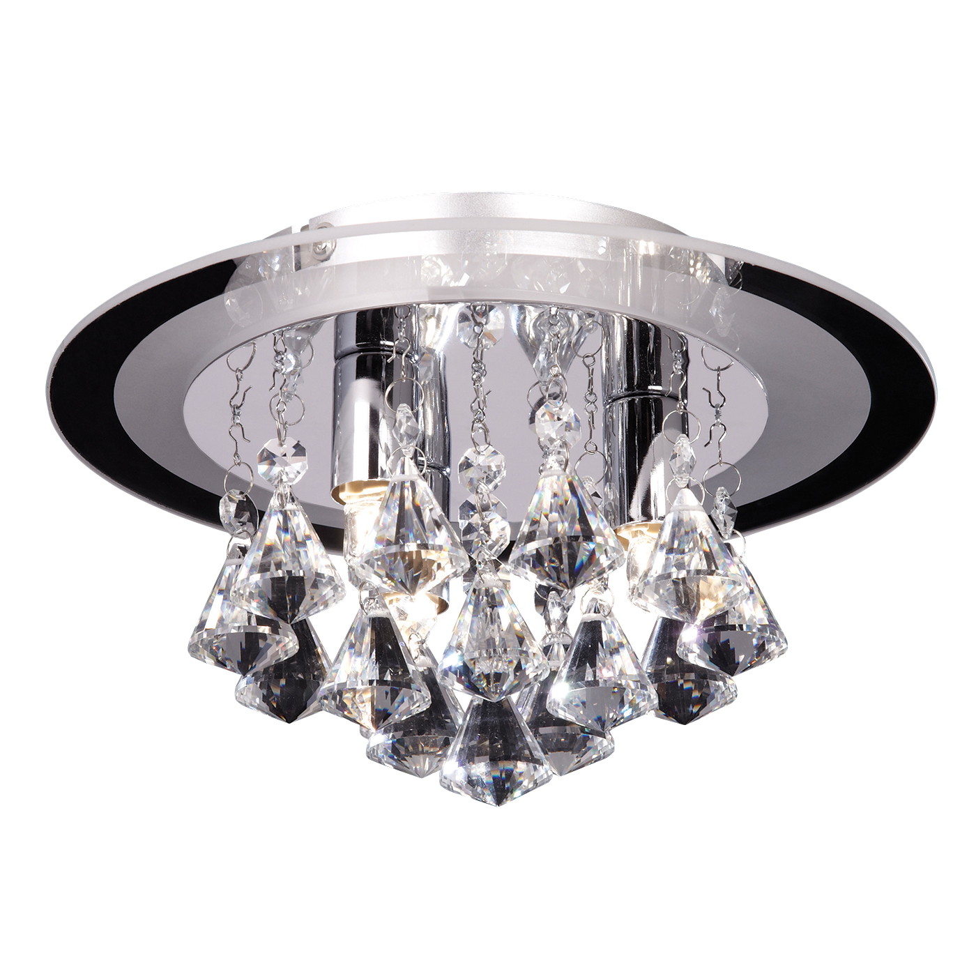 Endon Renner flush ceiling light 3x 33W Clear crystal (k9) drops & chrome effect Thumbnail 1