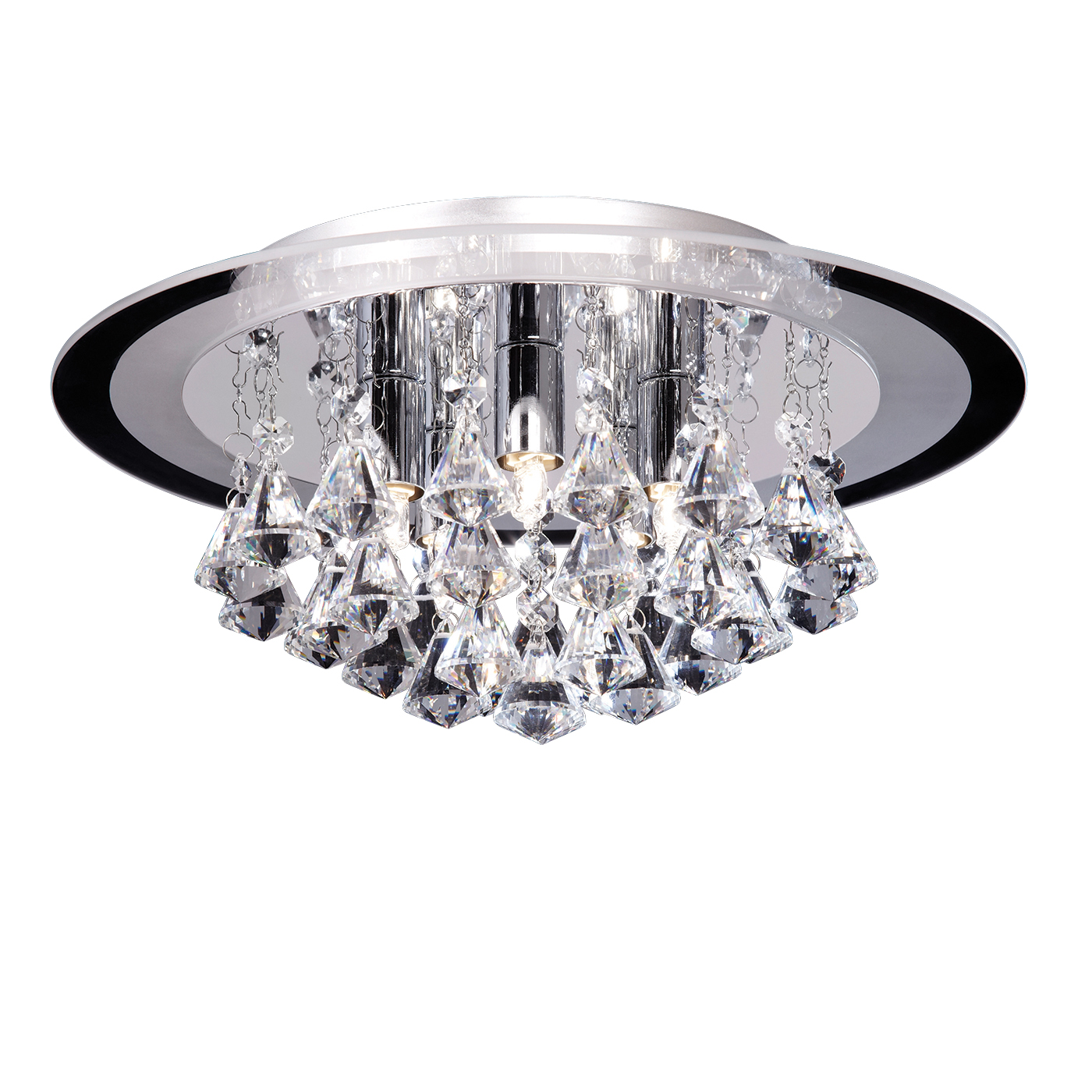 Endon Renner flush ceiling light 5x 33W Clear crystal (k9) drops & chrome effect Thumbnail 1