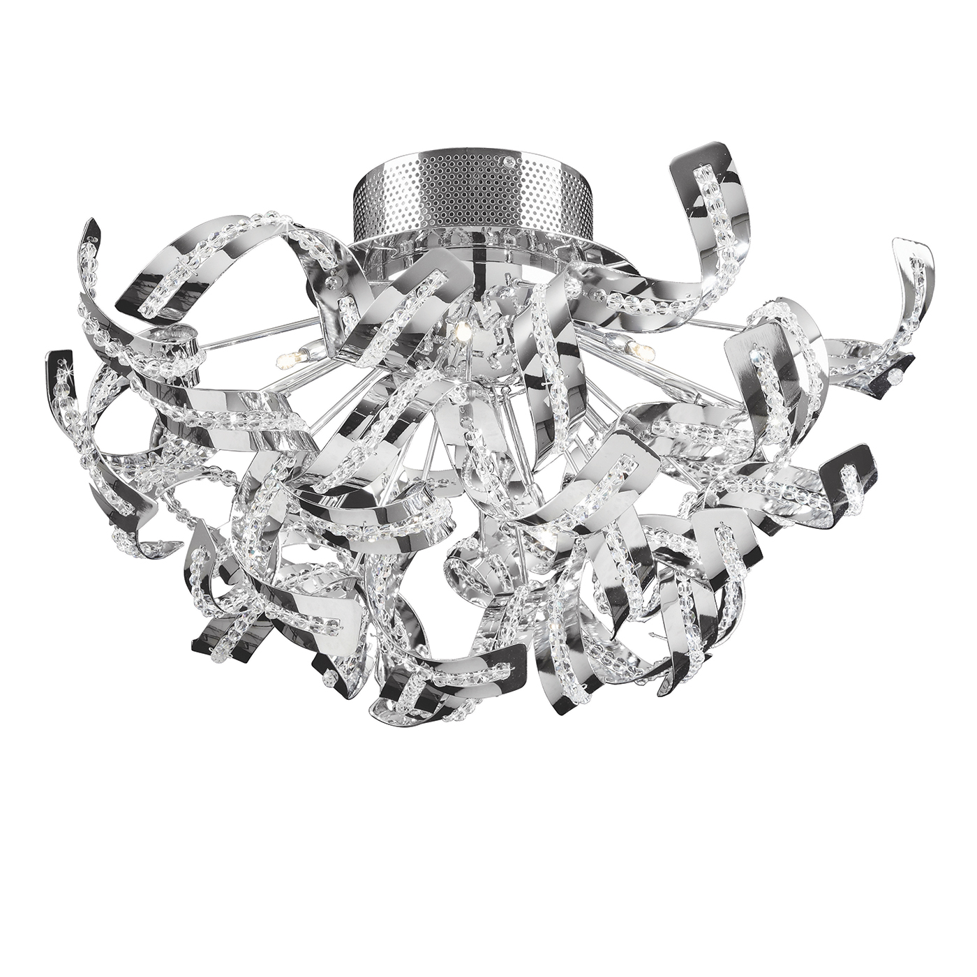 Endon Twist flush ceiling light 12x 20W Chrome effect & clear crystal (k5) glass Thumbnail 1