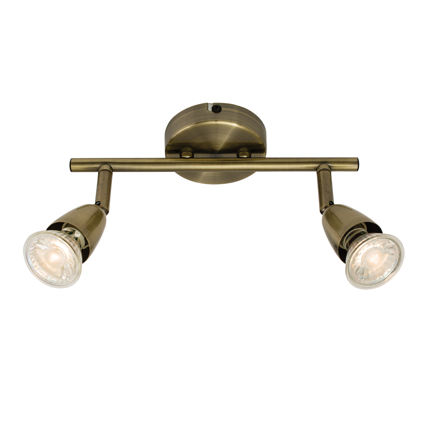 Endon Amalfi ceiling spotlight bar 2x 50W Antique brass effect plate