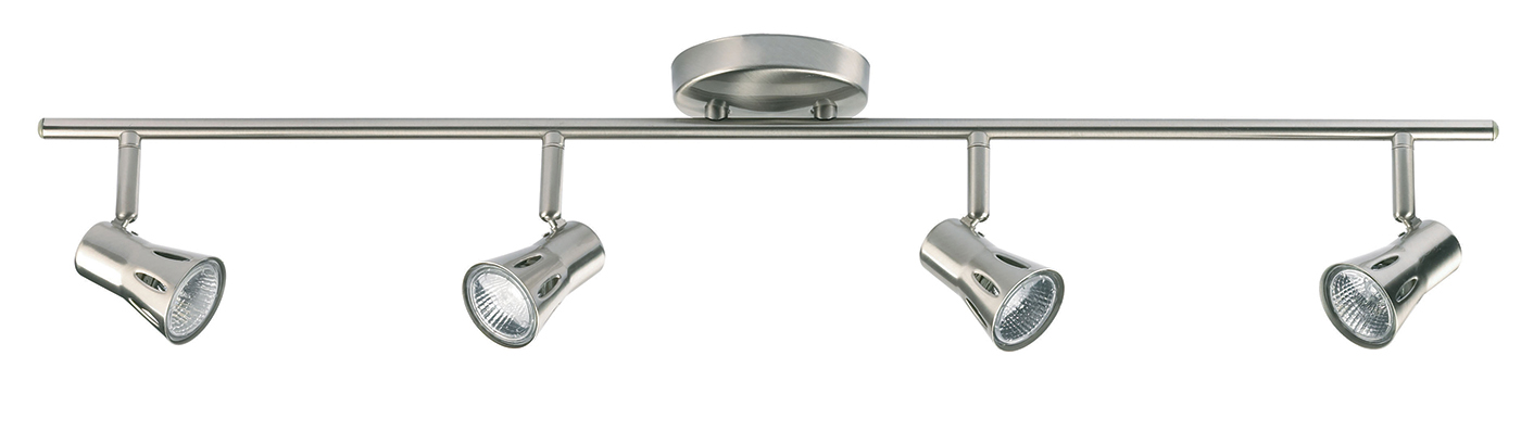 Endon Krius ceiling spotlight bar 4x 50W Satin chrome effect plate Thumbnail 1