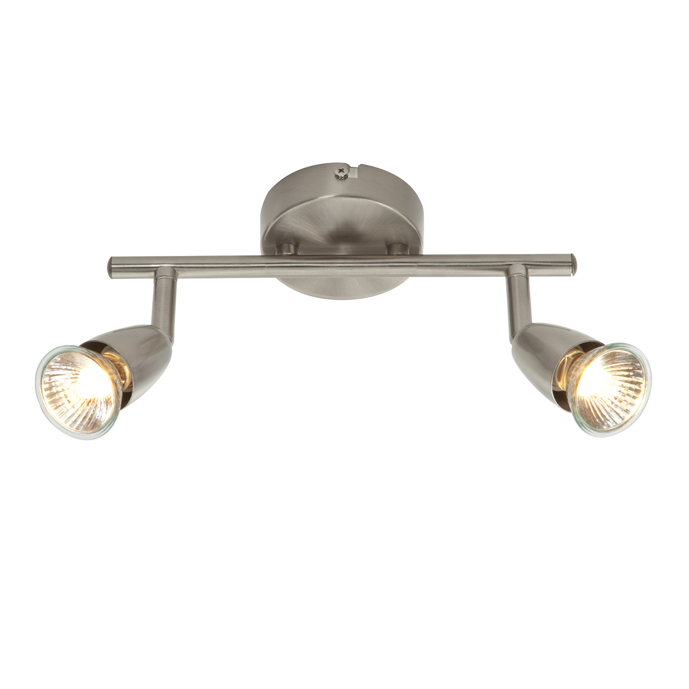Endon Amalfi ceiling spotlight bar 2x 50W Satin nickel effect plate