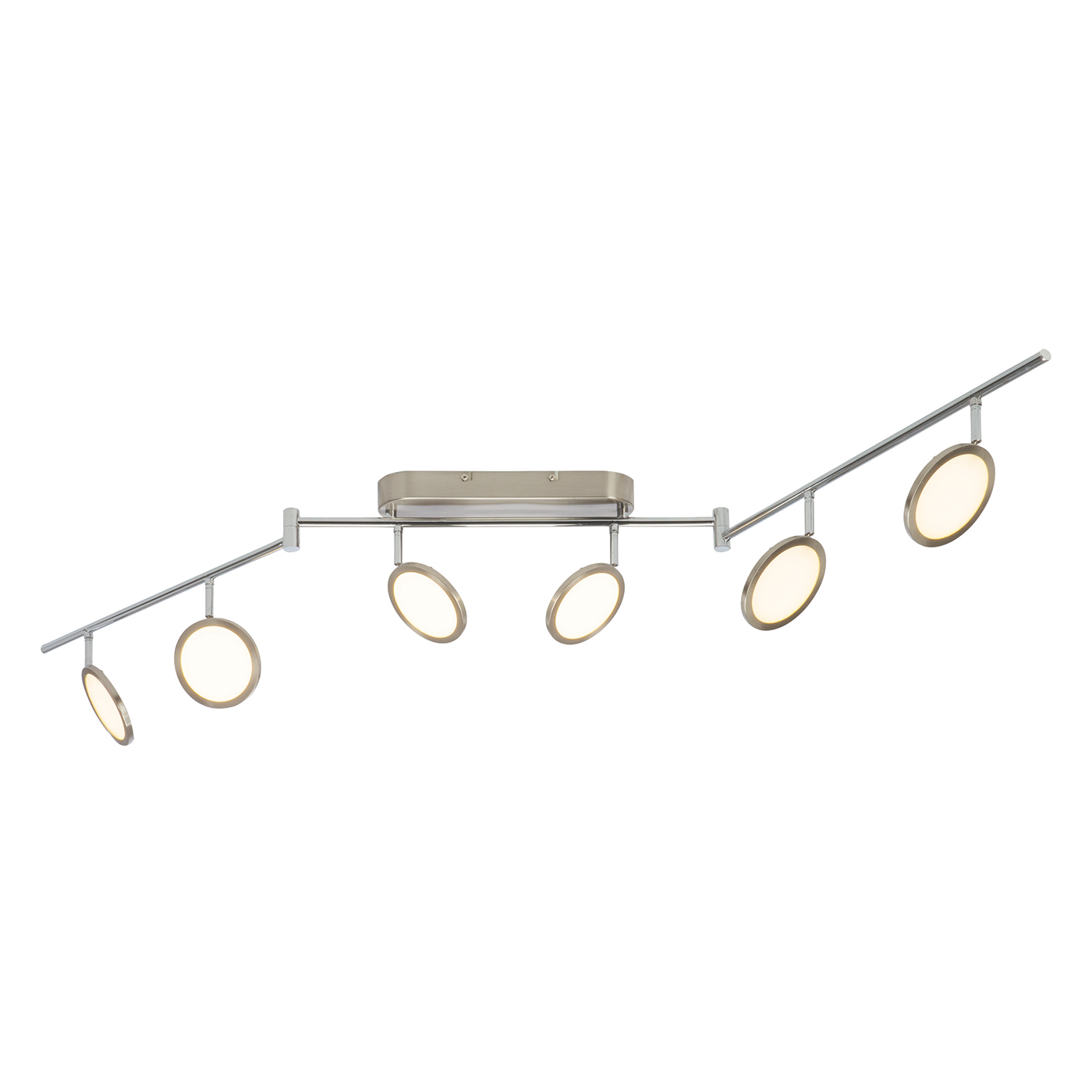 Endon Pluto ceiling spotlight folding bar 6x 5W Satin nickel effect opal plastic Thumbnail 1