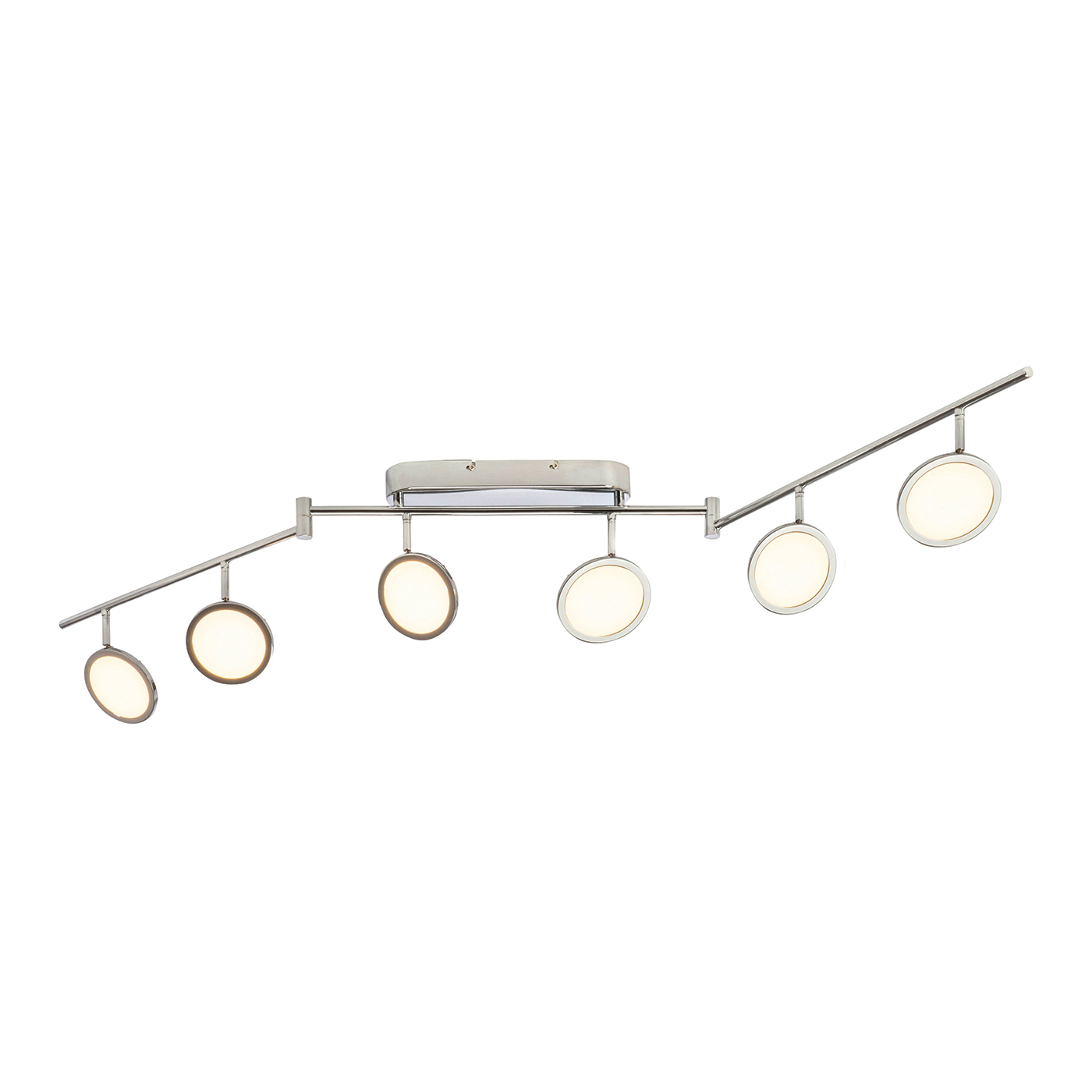 Endon Pluto ceiling spotlight folding bar 6x 5W Chrome effect plate opal plastic Thumbnail 1