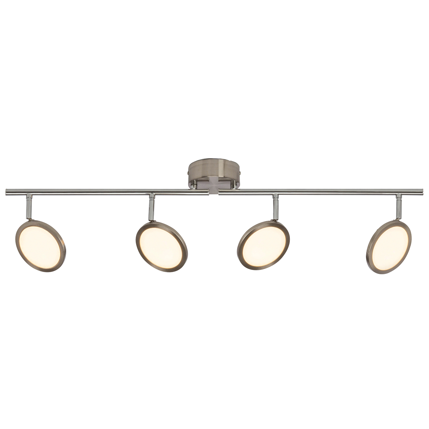 Endon Pluto ceiling spotlight bar 4x 5W Satin nickel effect plate opal plastic Thumbnail 1