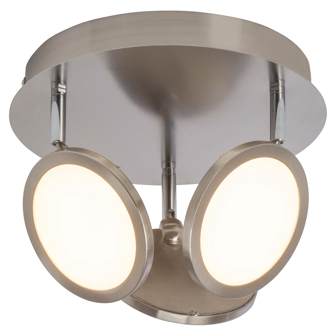 Endon Pluto ceiling spotlight round 3x 5W Satin nickel effect plate opal plastic